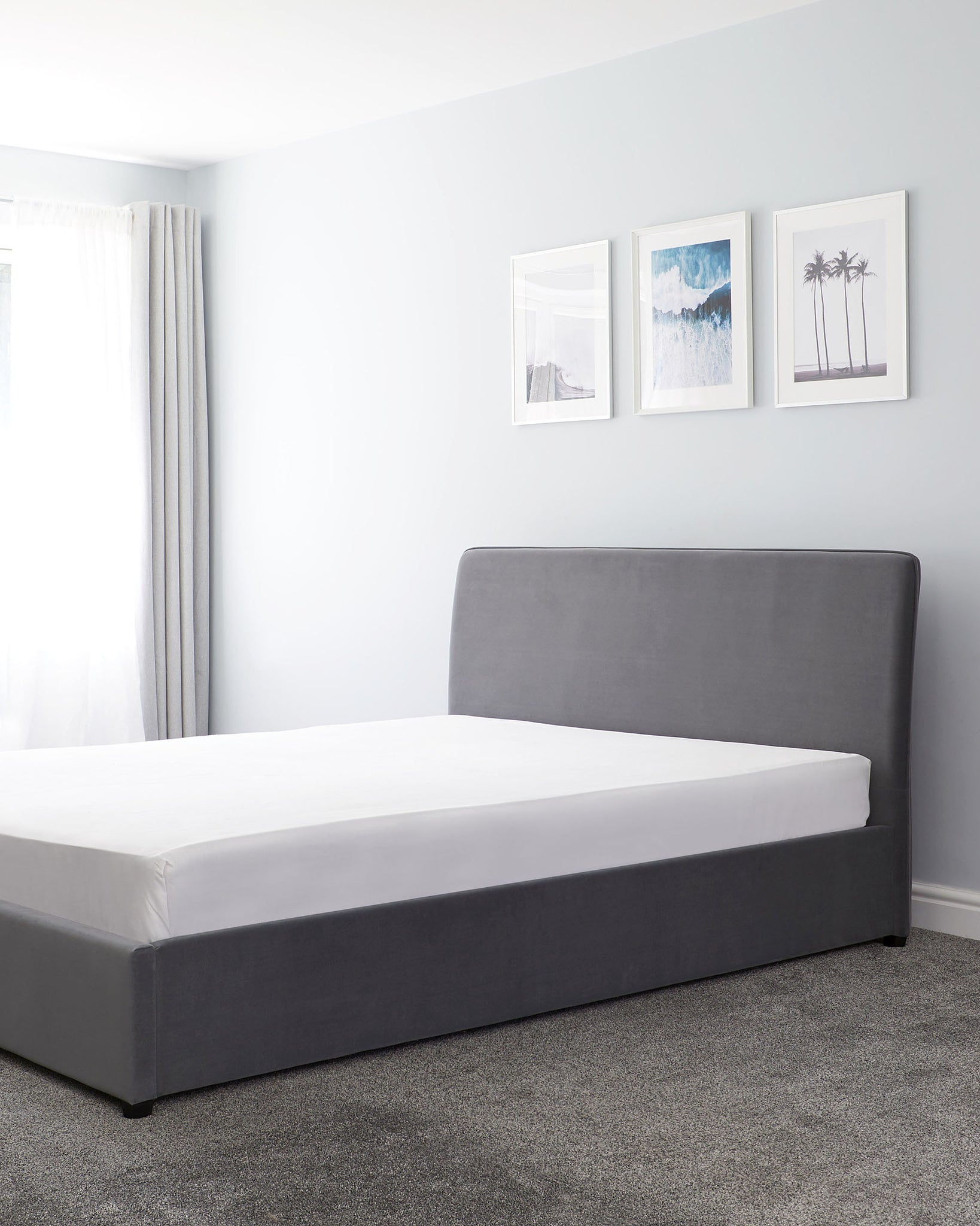 Turin Grey Velvet King Size Bed With Storage