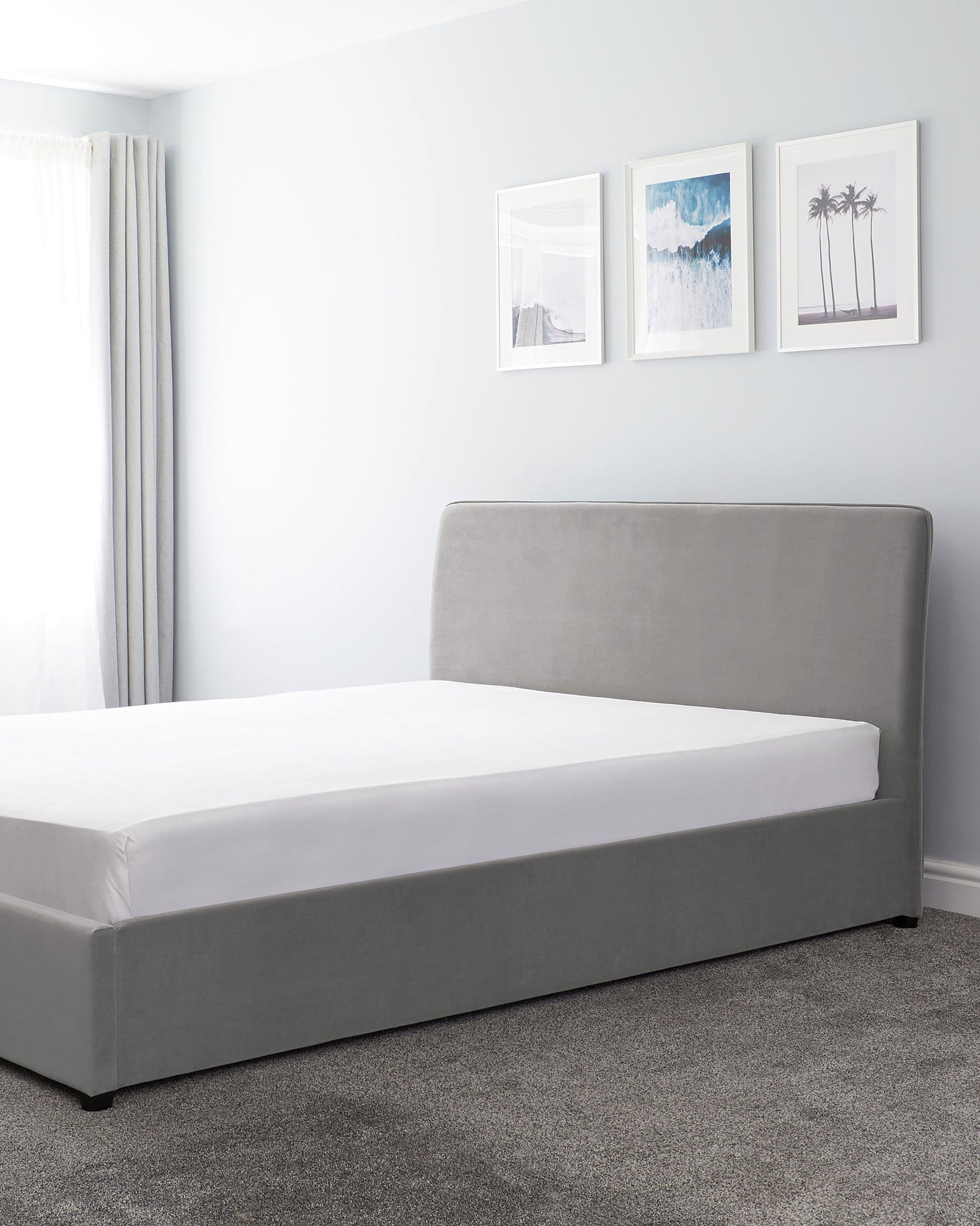 Turin Light Grey Velvet Double Bed With Storage