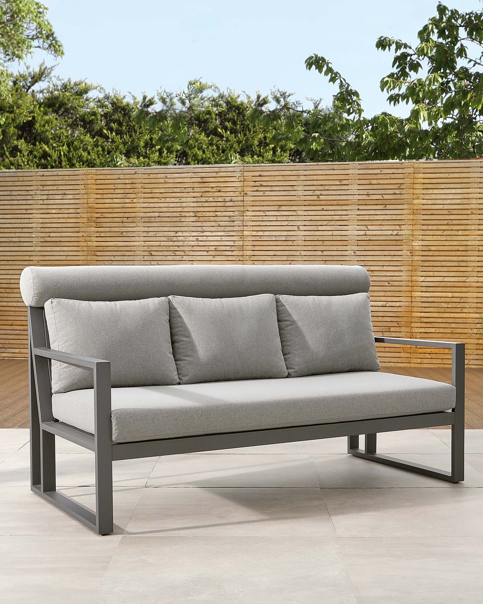 Verano Grey 3 Seater Garden Sofa Bench