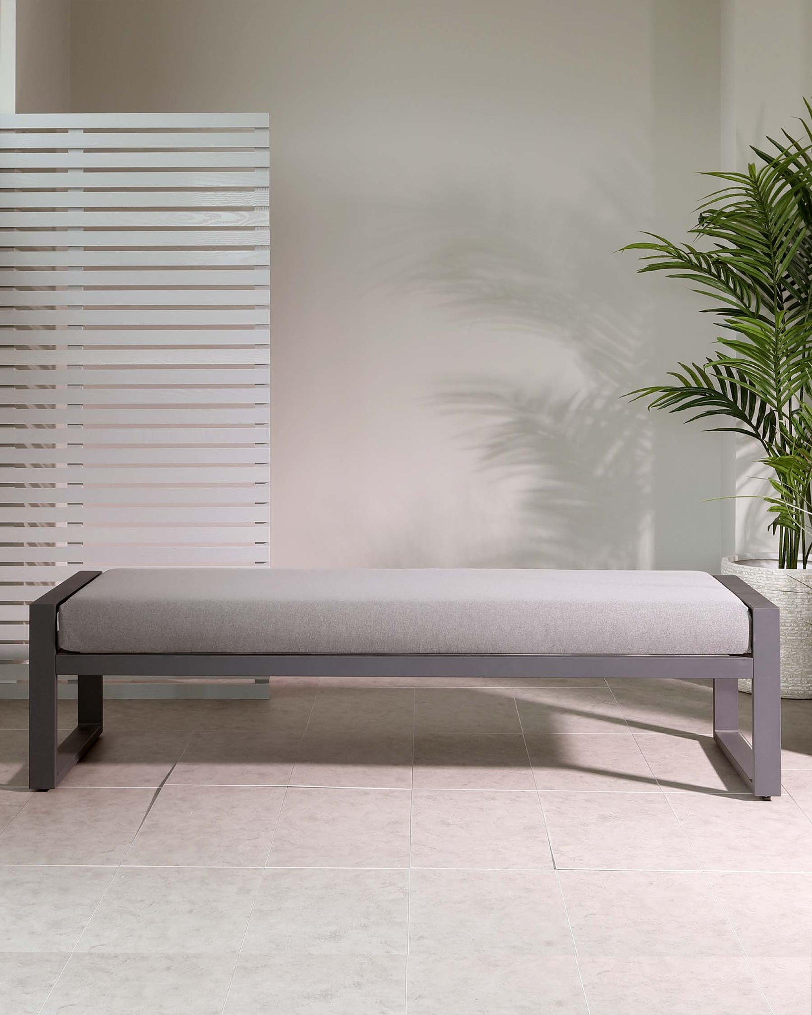 Verano Grey 3 Seater Backless Garden Sofa Bench