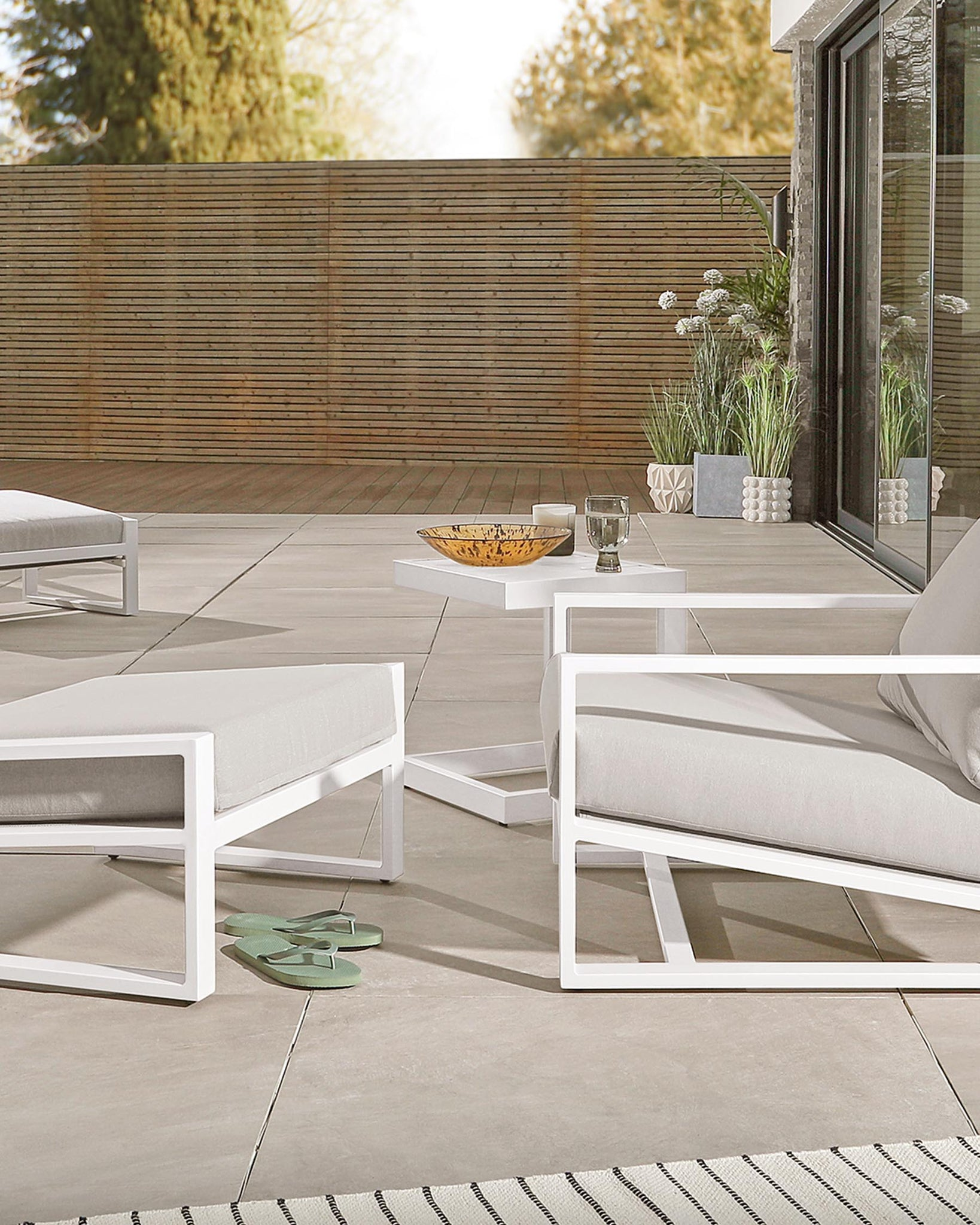 Lago White Small Garden Side Table