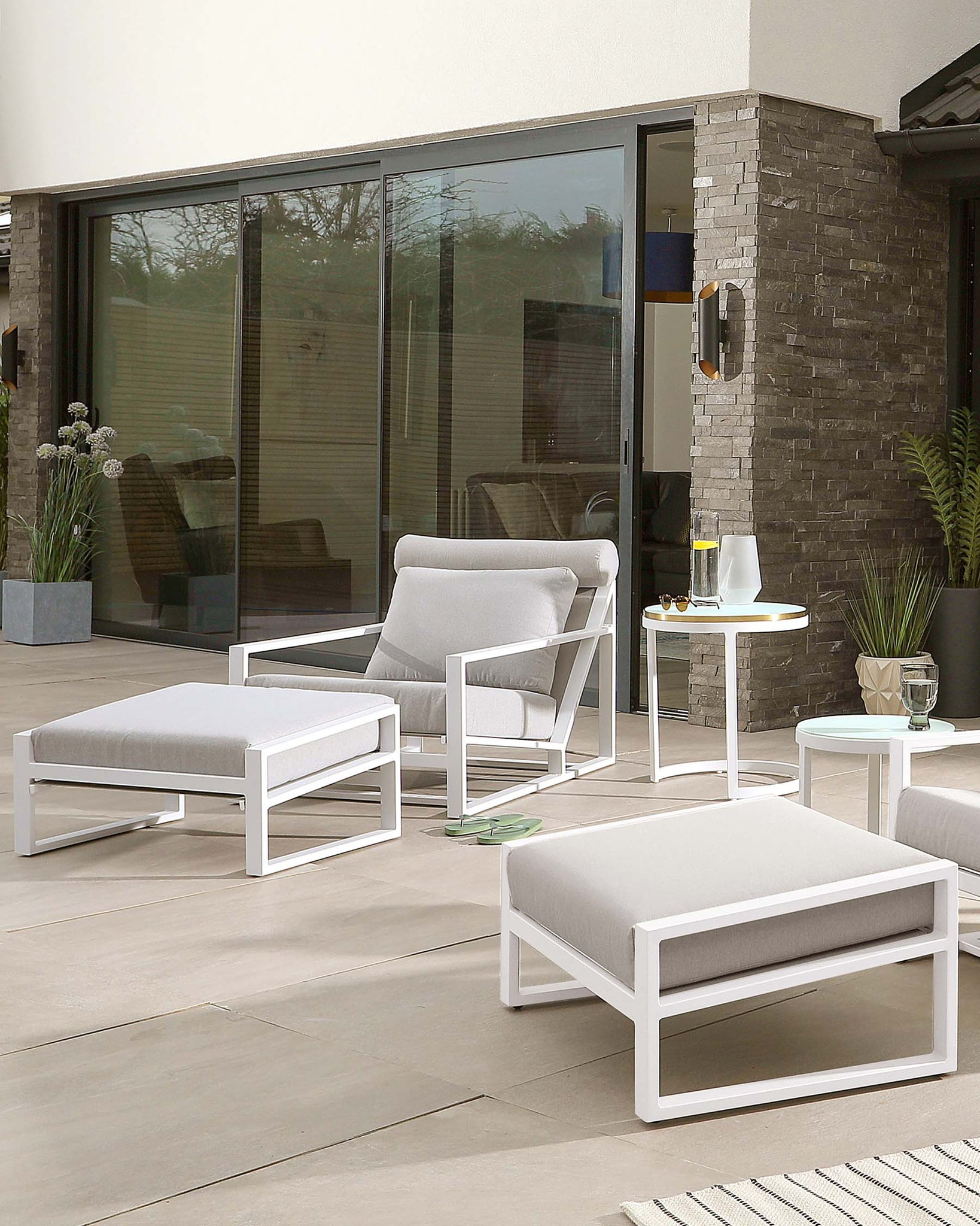 Cala White Frosted Glass Aluminium Garden Side Table Set