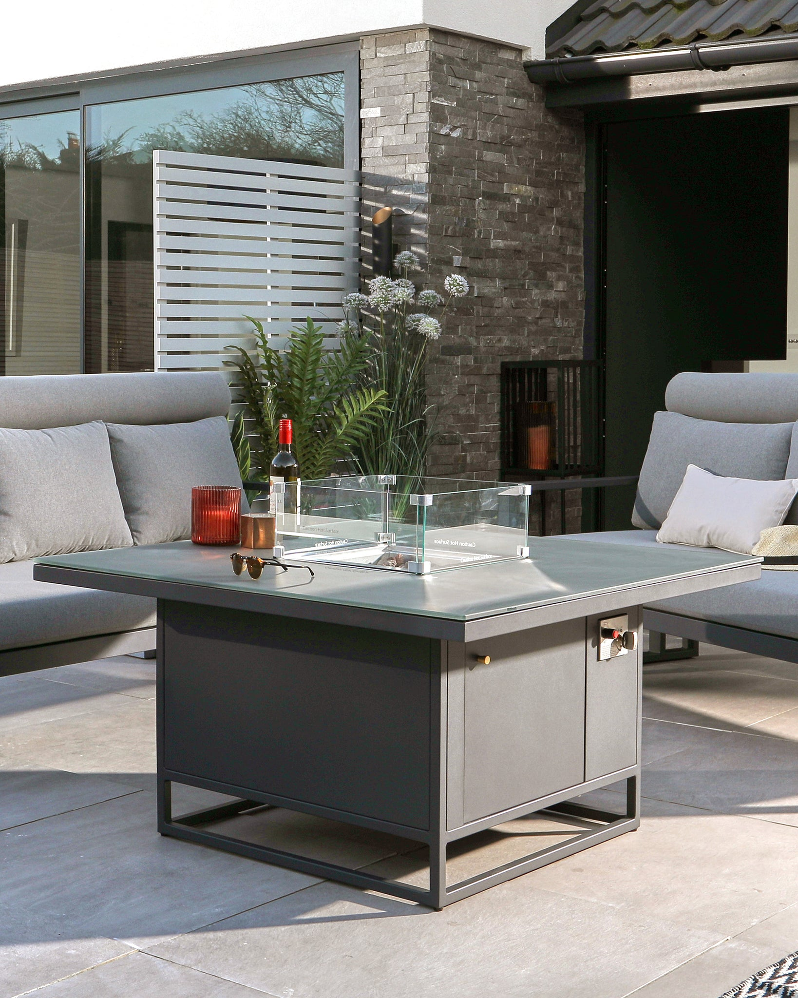 Romero Firepit Table And Savannah Outdoor Bench Set