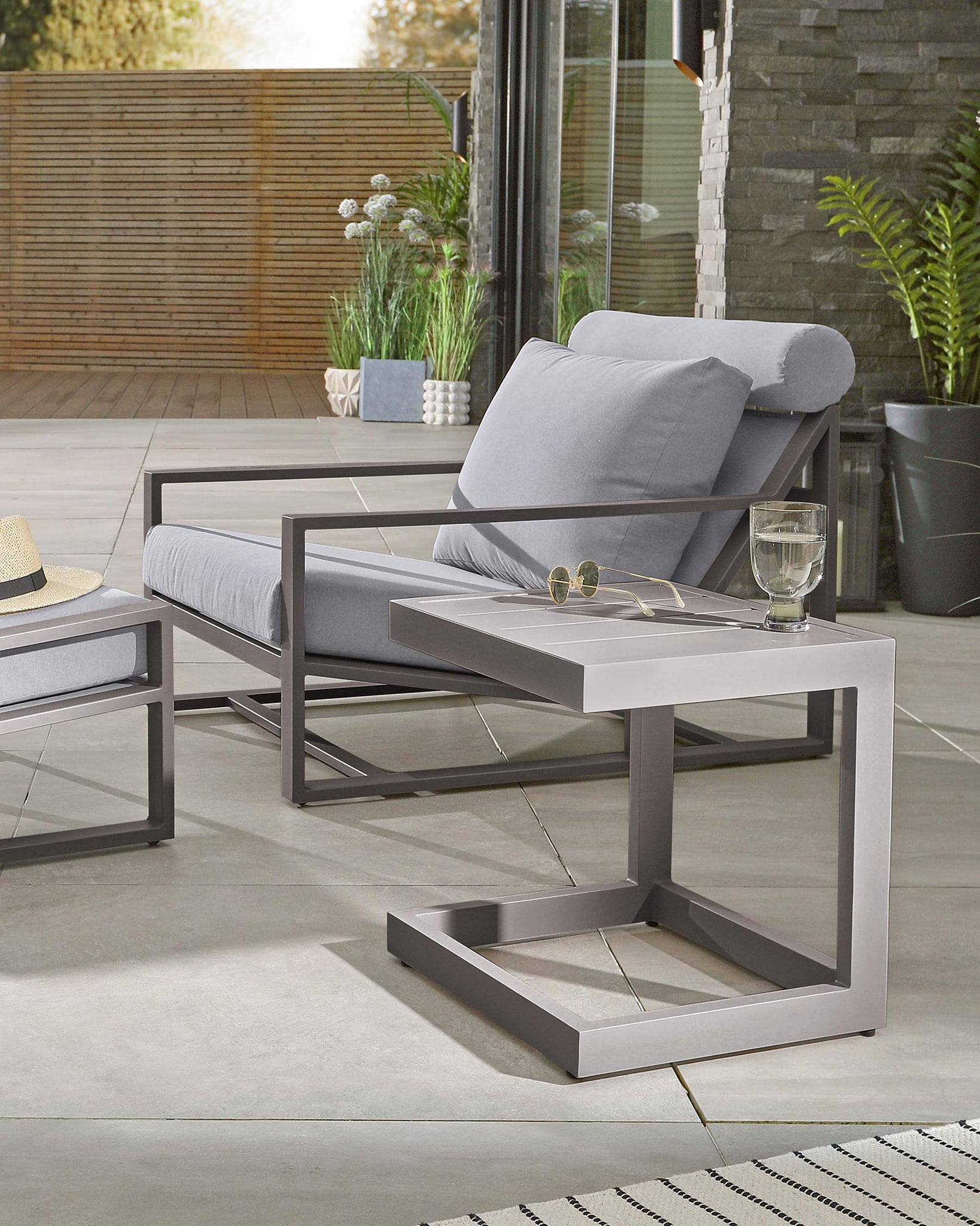 Lago Grey Small Garden Side Table