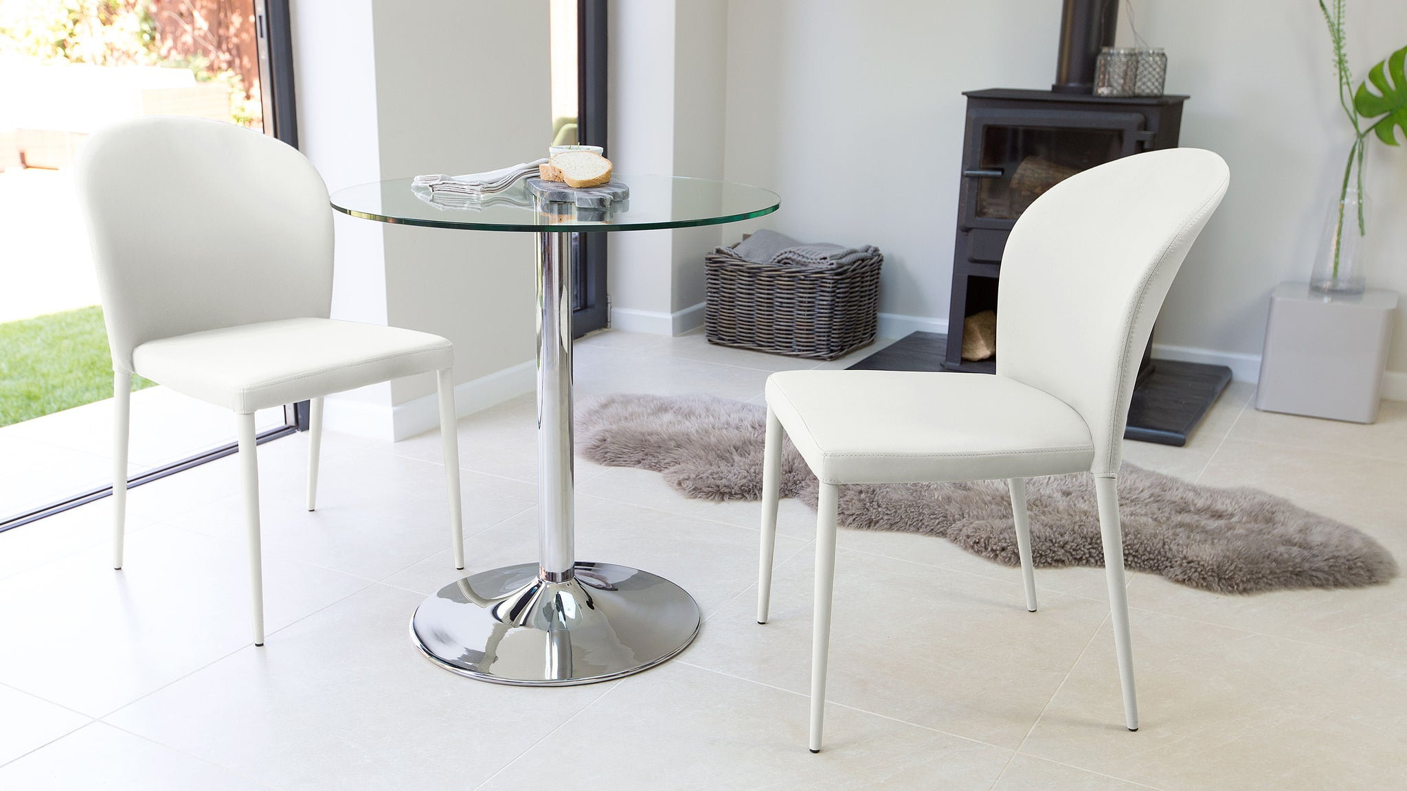 Naro Glass And Santo Stackable  2 Seater Dining Set