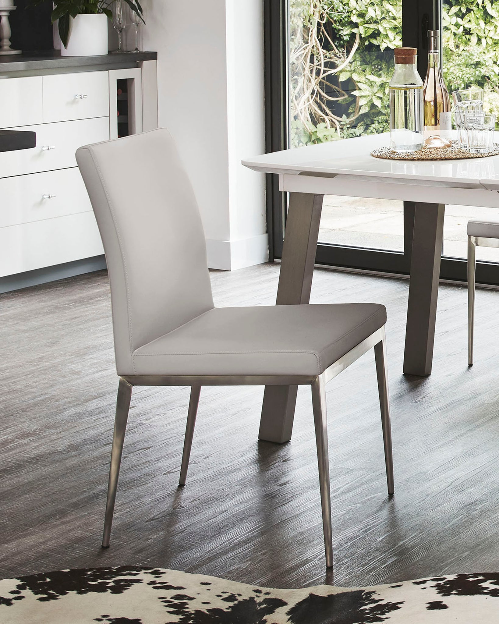 Lucia White & Brushed Steel Dining Chair - Set Of 2