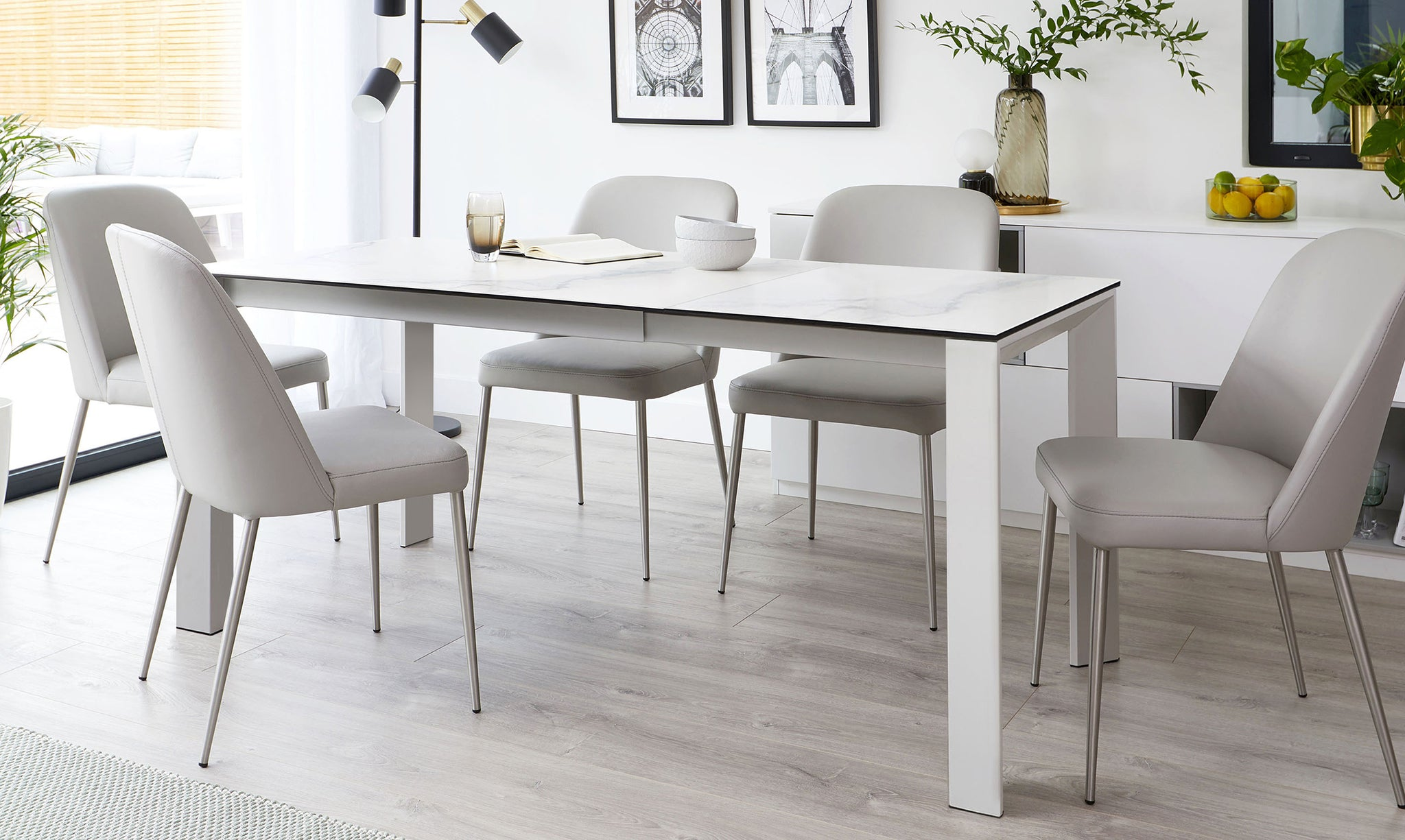 Louis Ceramic Marble And Deco Real Leather Extending Dining Set Danetti