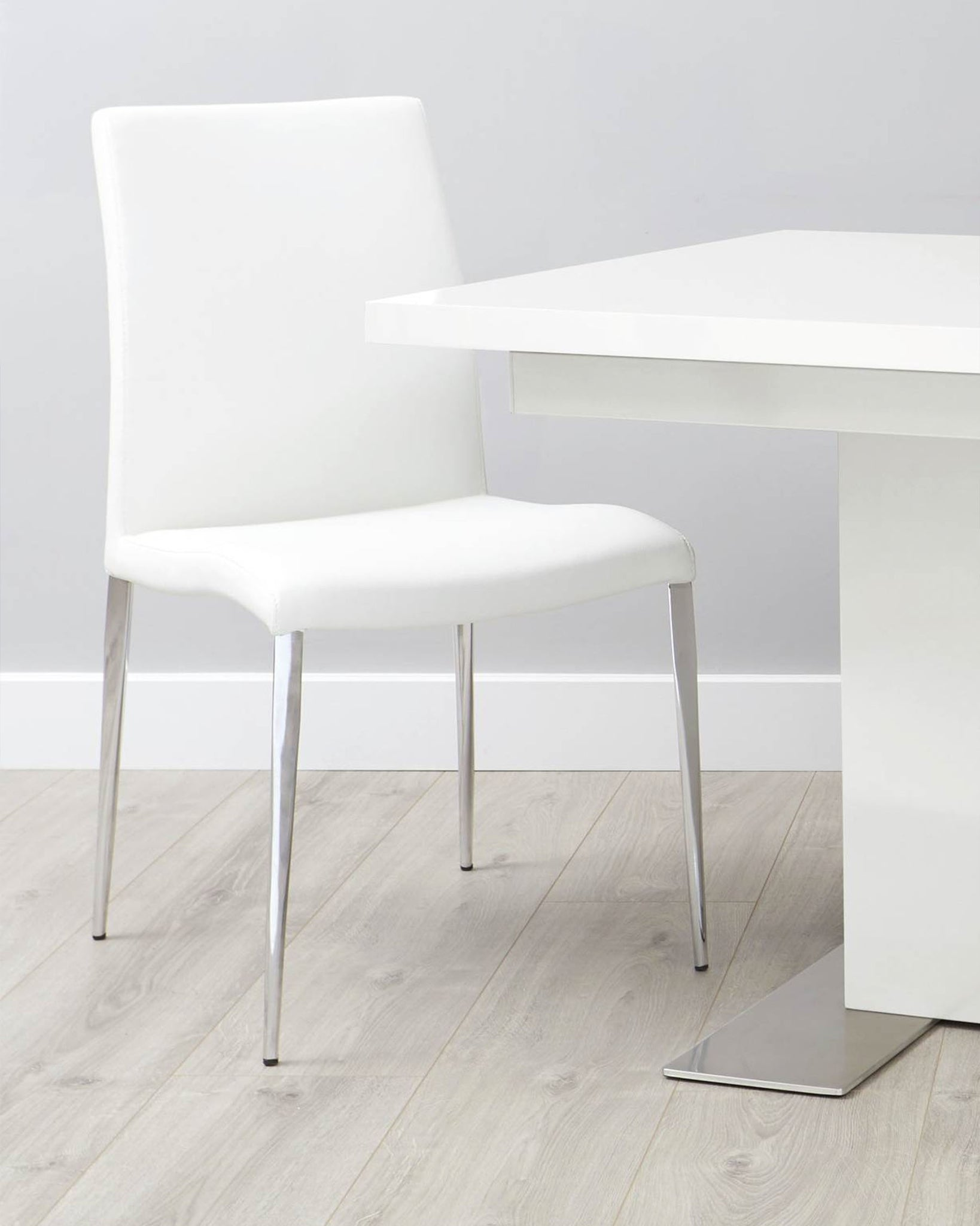 Elise White Faux Leather And Chrome Dining Chair - Set Of 2