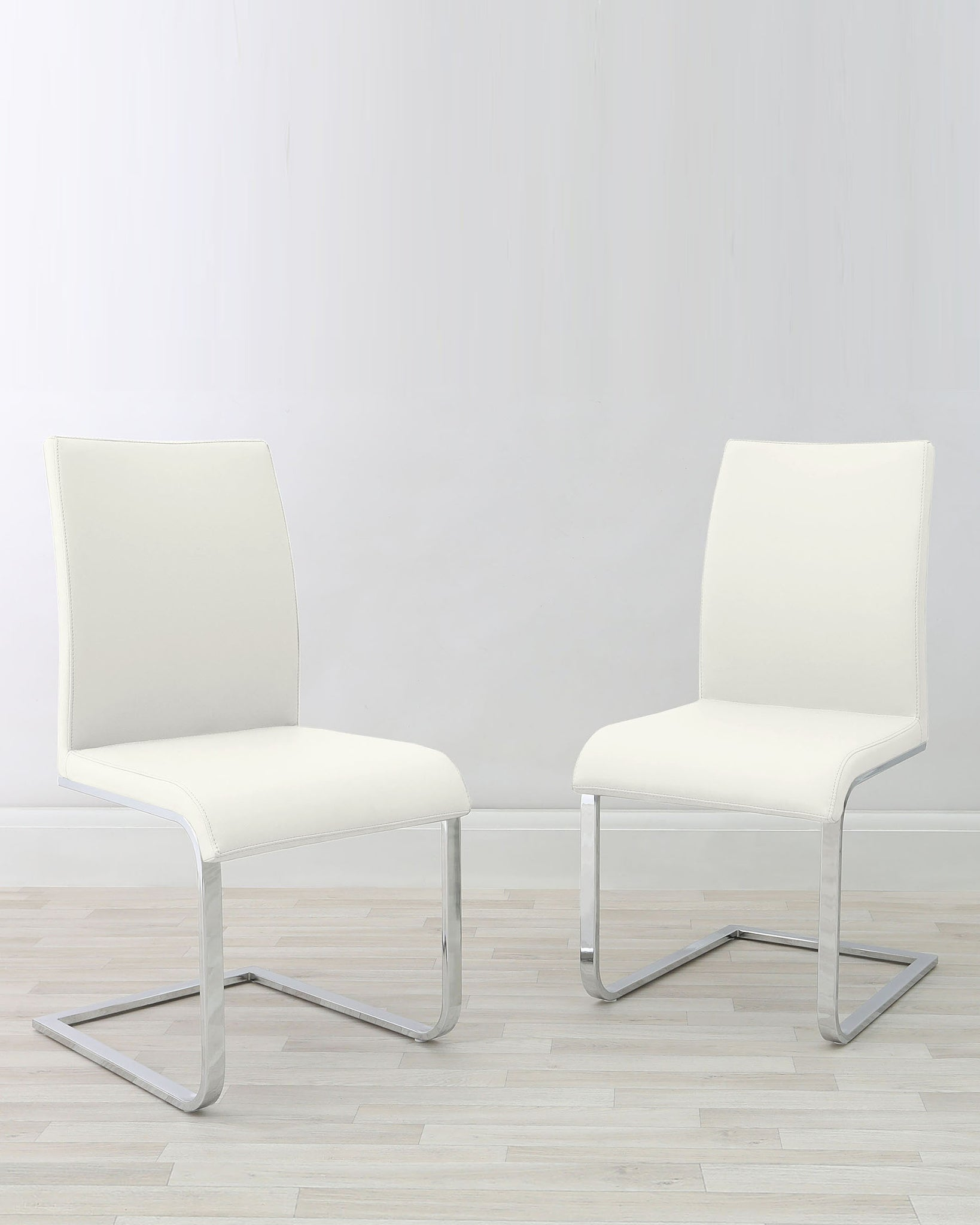 Verona Cantilever White Faux Leather Chair - Set Of 2