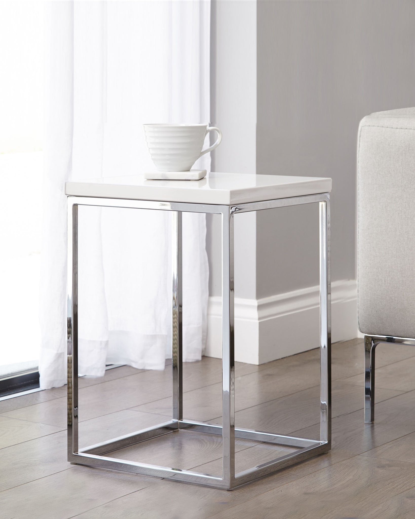 Acute White Gloss And Chrome Side Table