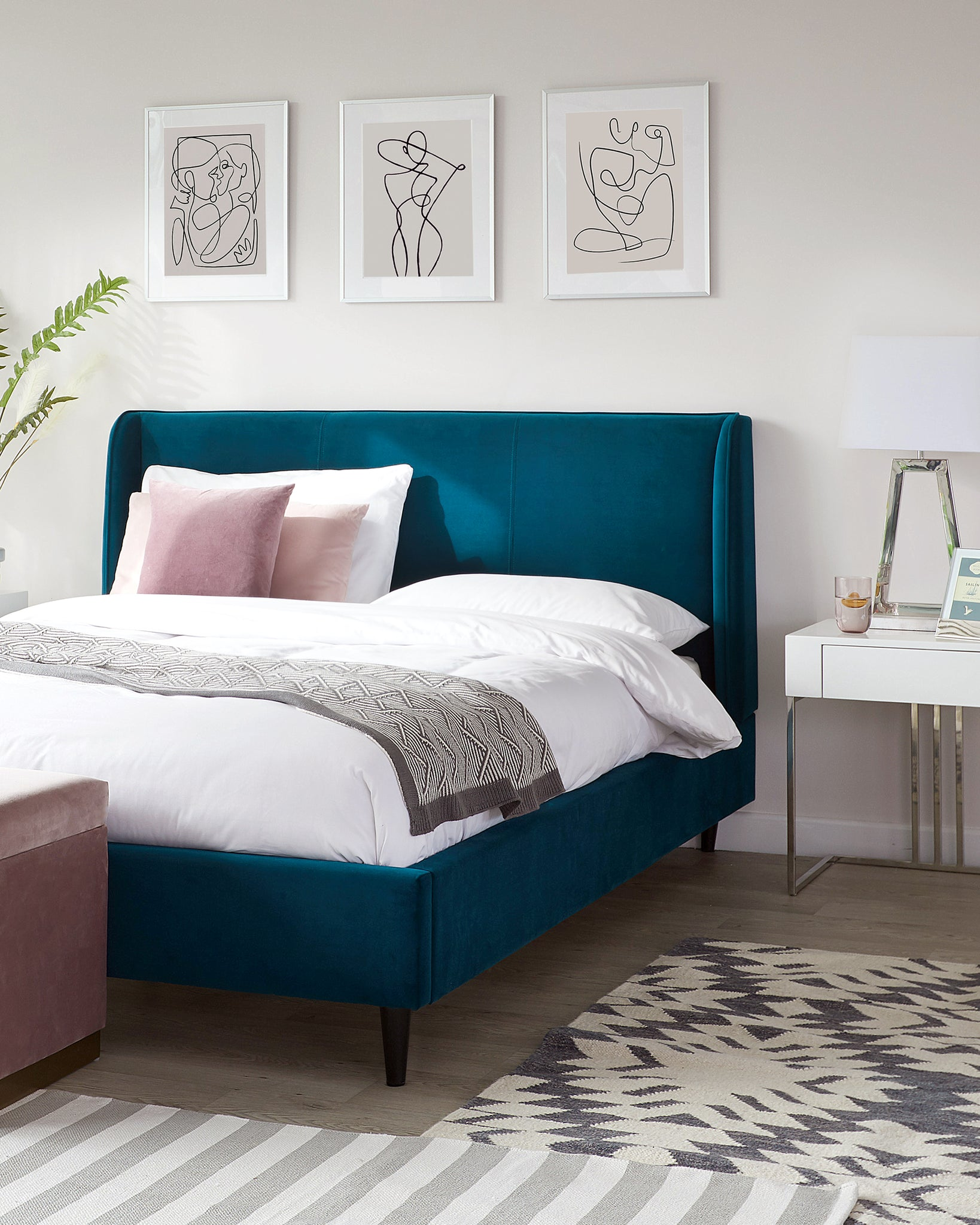 Paolo Dark Teal Velvet Double Bed