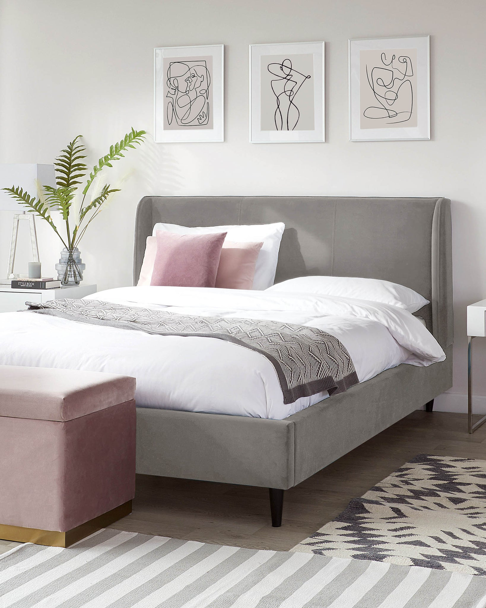 Paolo Light Grey Velvet King Size Bed