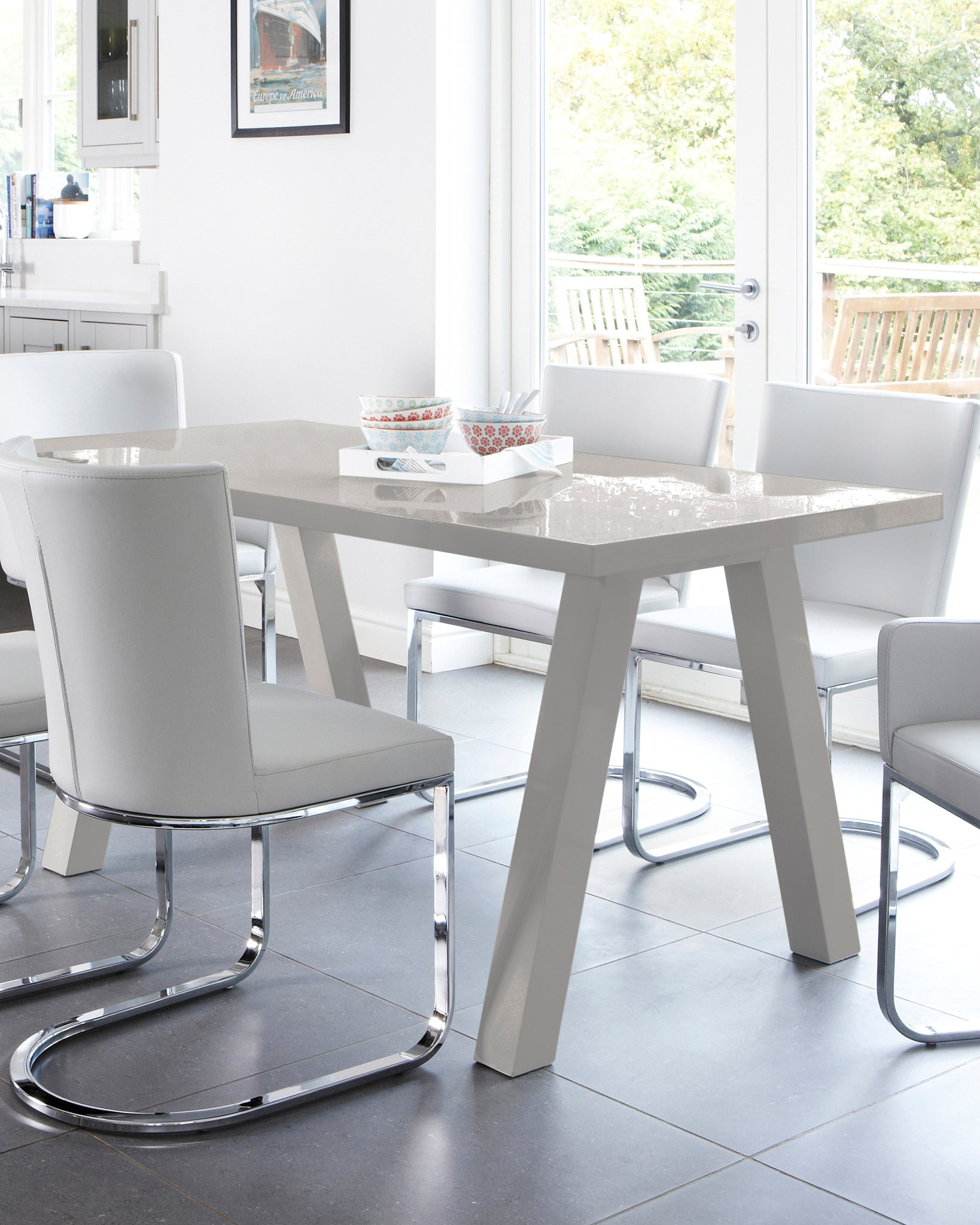 Zen Grey Gloss 6 Seater Dining Table