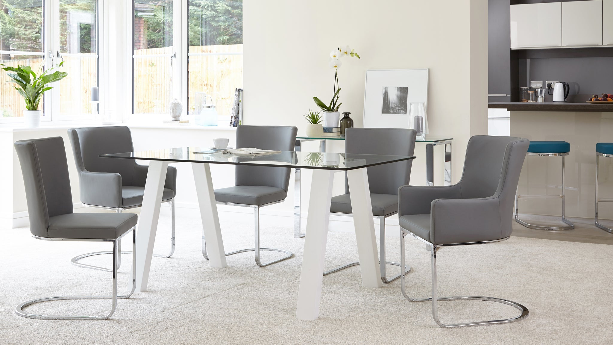 Zen Glass And White Gloss 6 Seater Dining Table