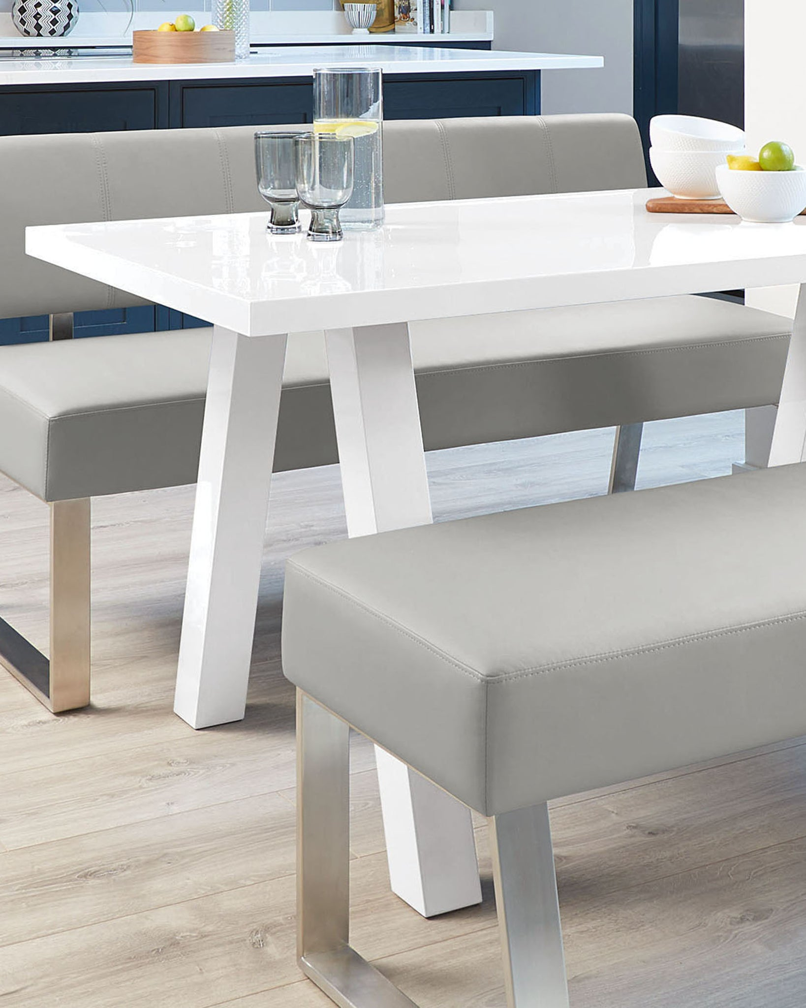 Zen White Gloss And Dover Bench Set