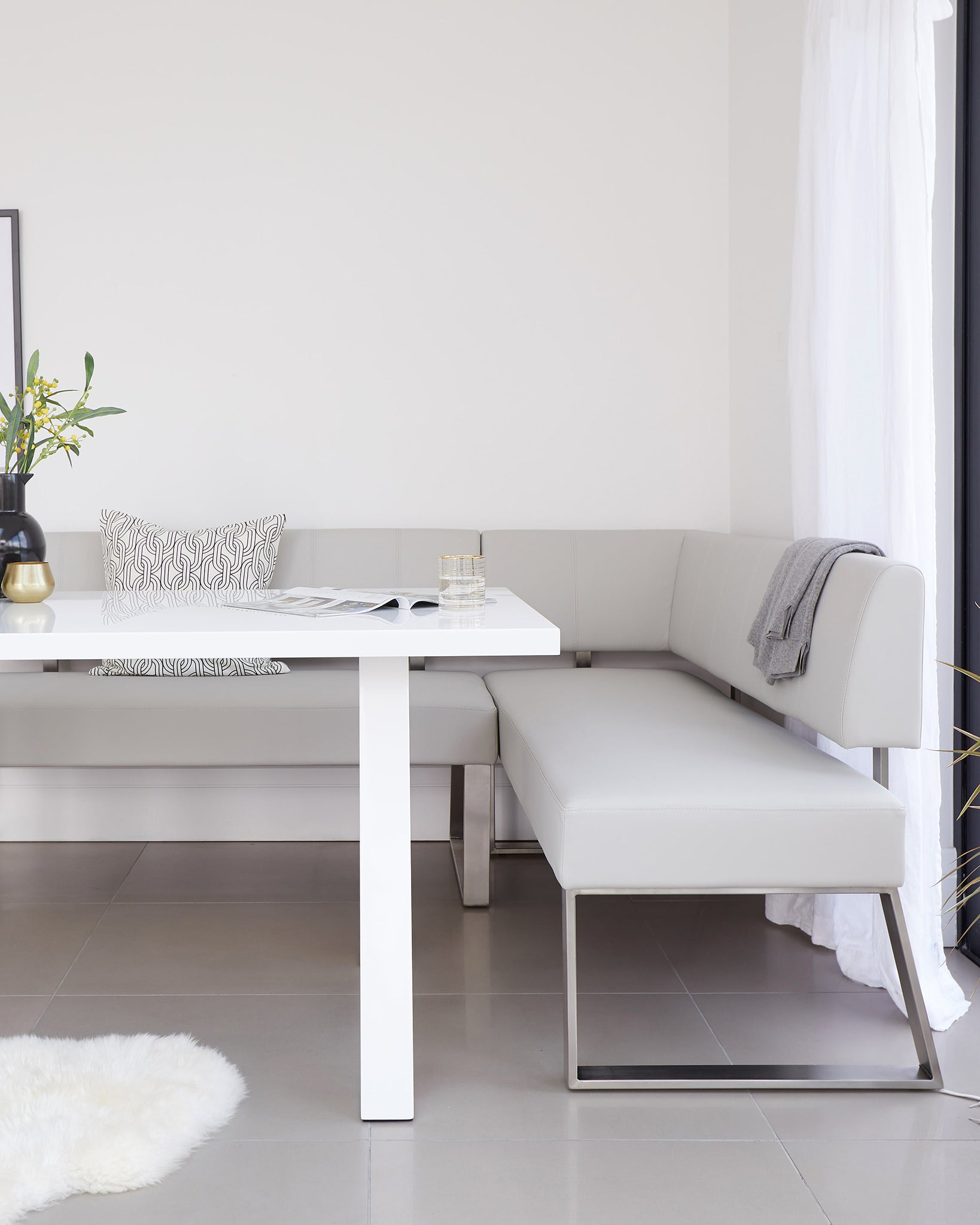 Zen White Gloss And Dover Left Hand Corner Bench Set