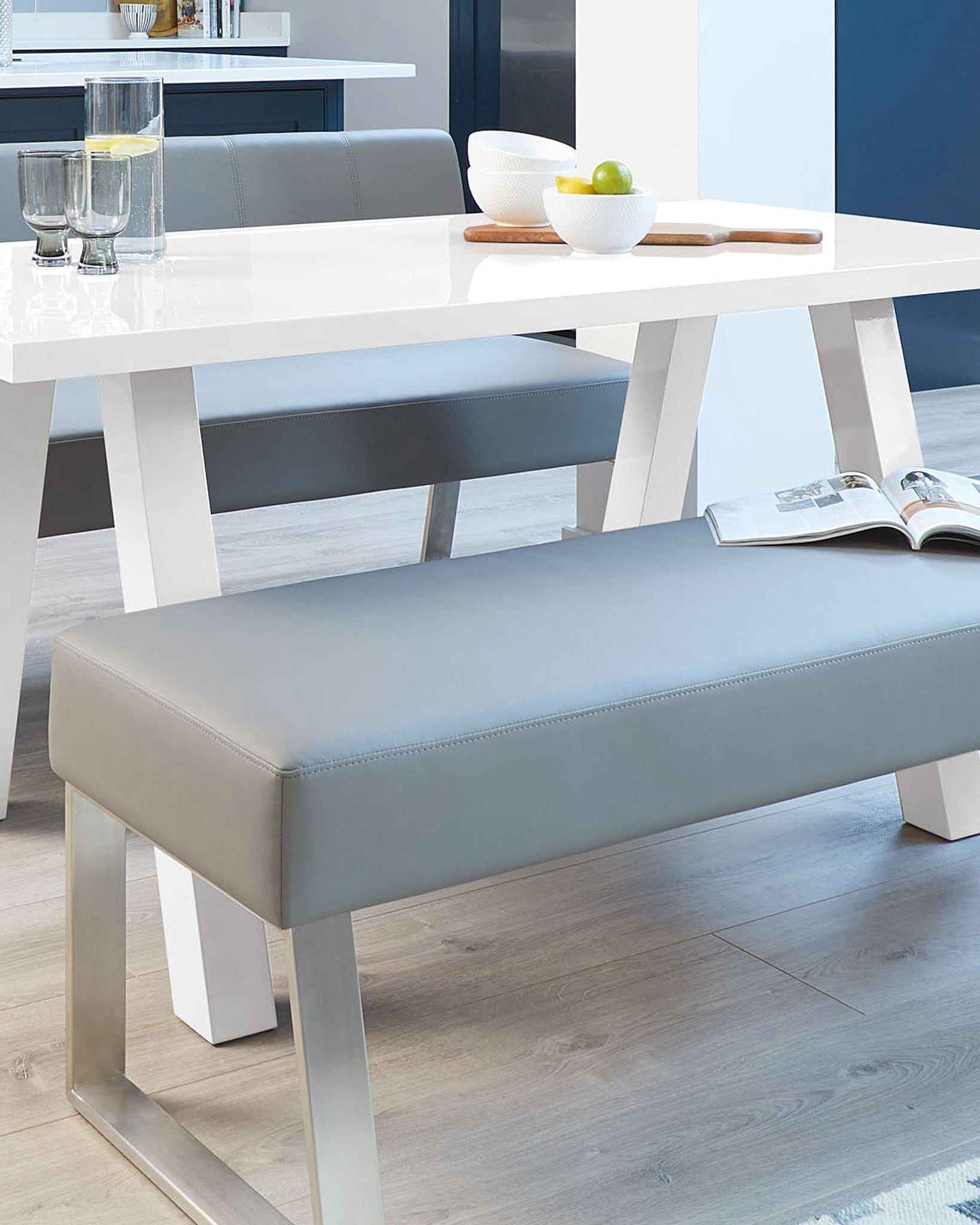 Dover 3 Seater Grey Faux Leather Dining Bench