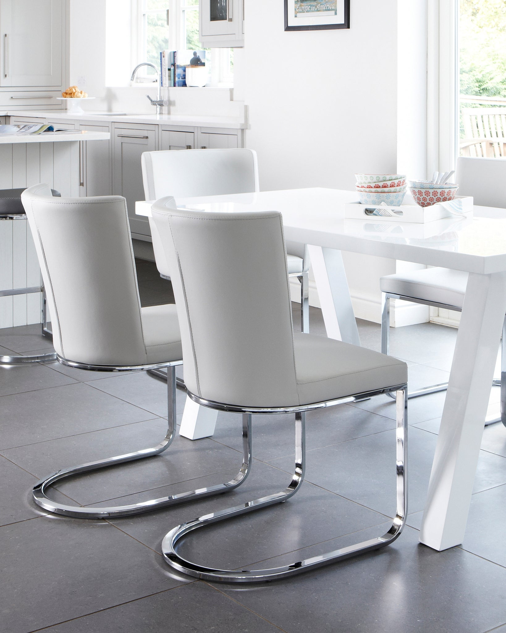 Form Light Grey Faux Leather Cantilever Dining Chair - Set Of 2