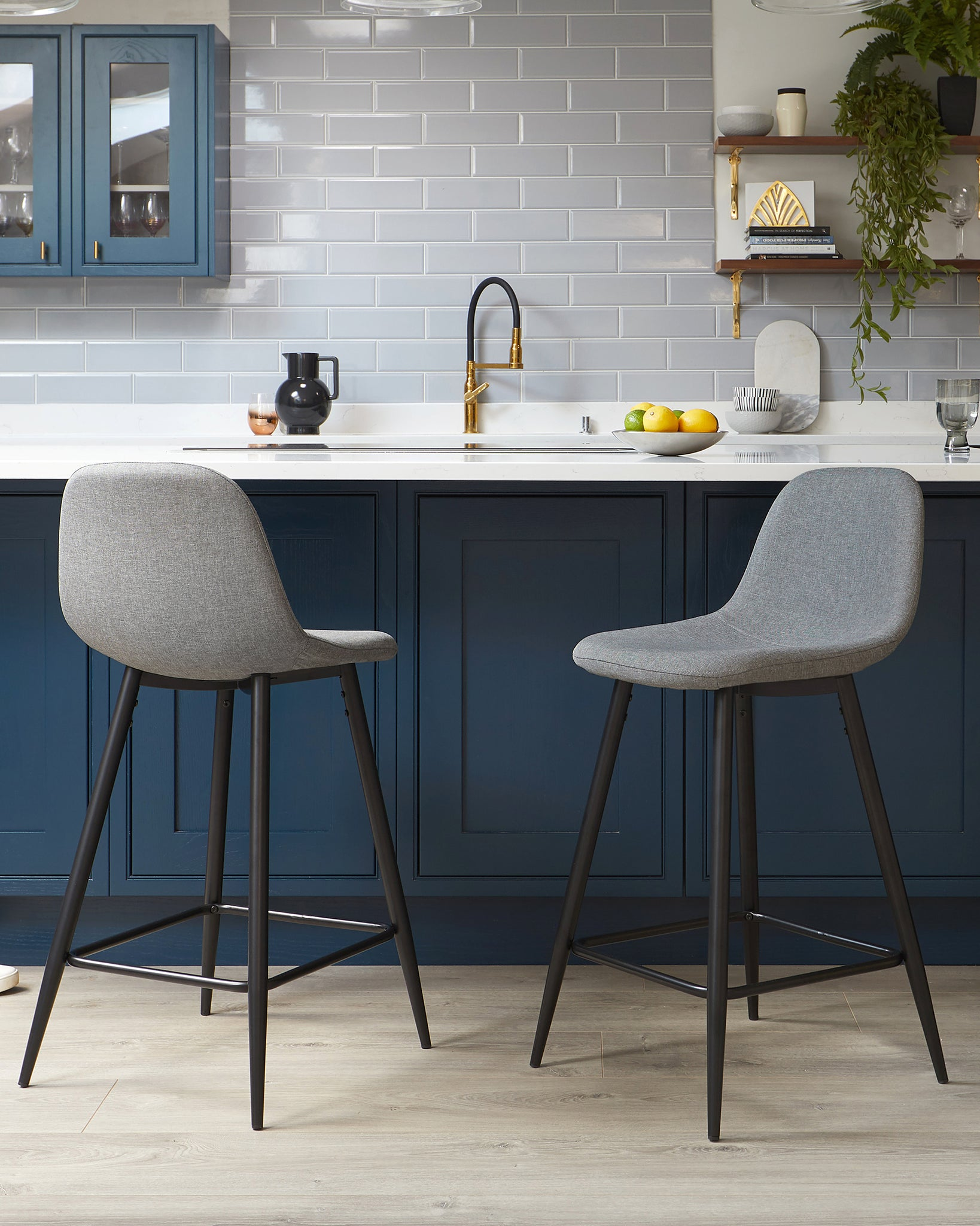 Zilo Mid Grey Fabric Bar Stool - Set Of 2