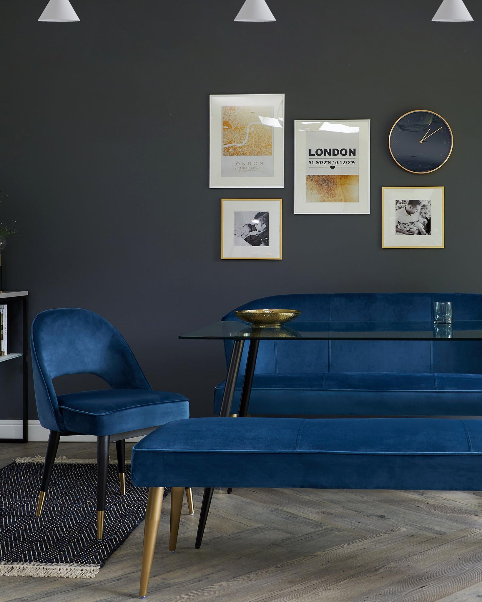 Mellow Dark Blue Velvet And Brass 3 Seater Bench Without Backrest