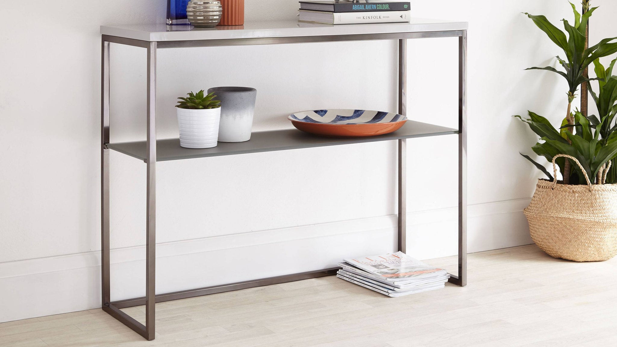 Grey Gloss and Black Chrome Console Table