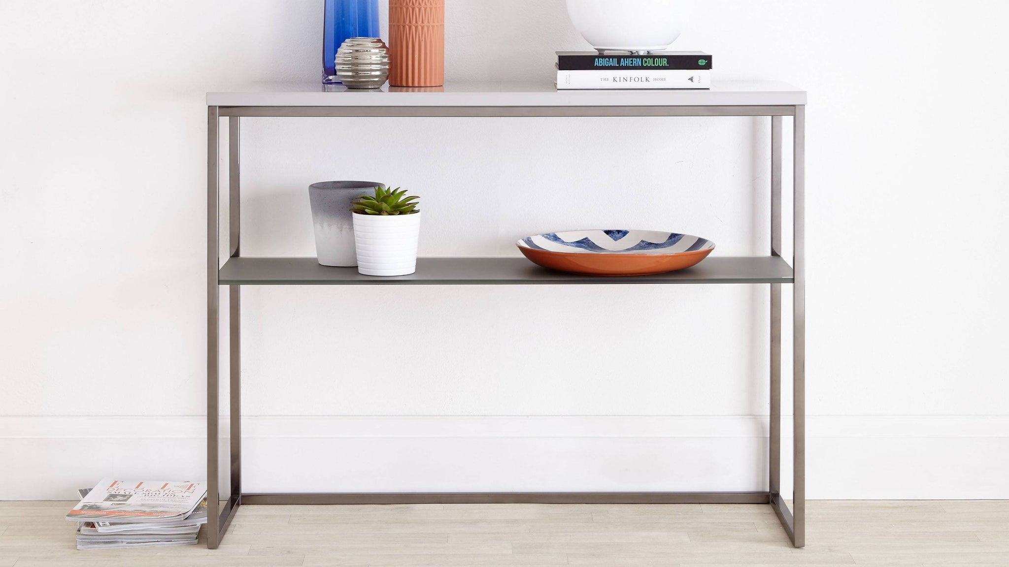 Grey Gloss and Matt grey Console Table