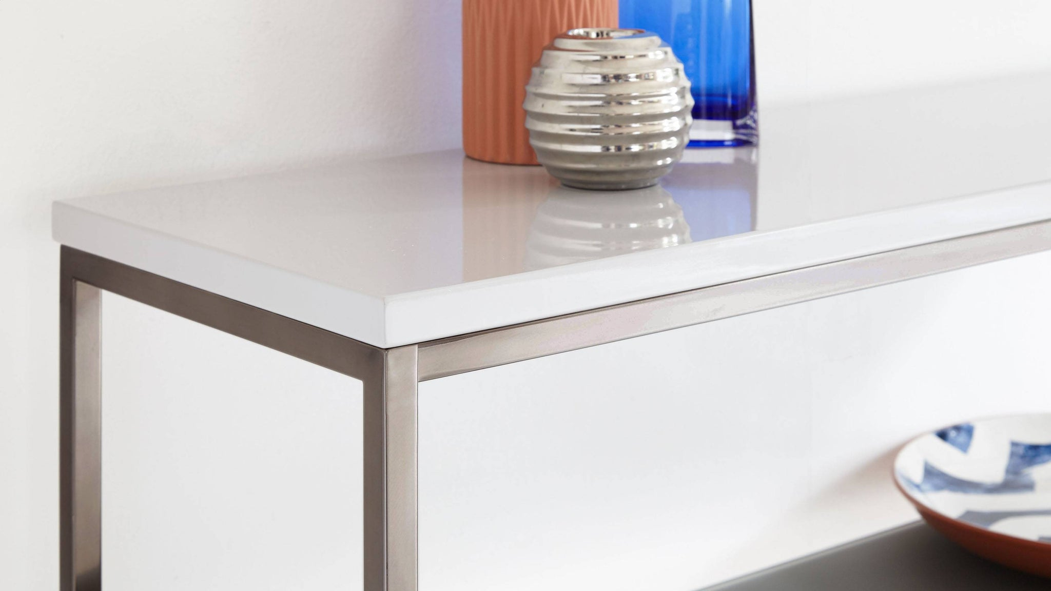 Grey gloss modern console table