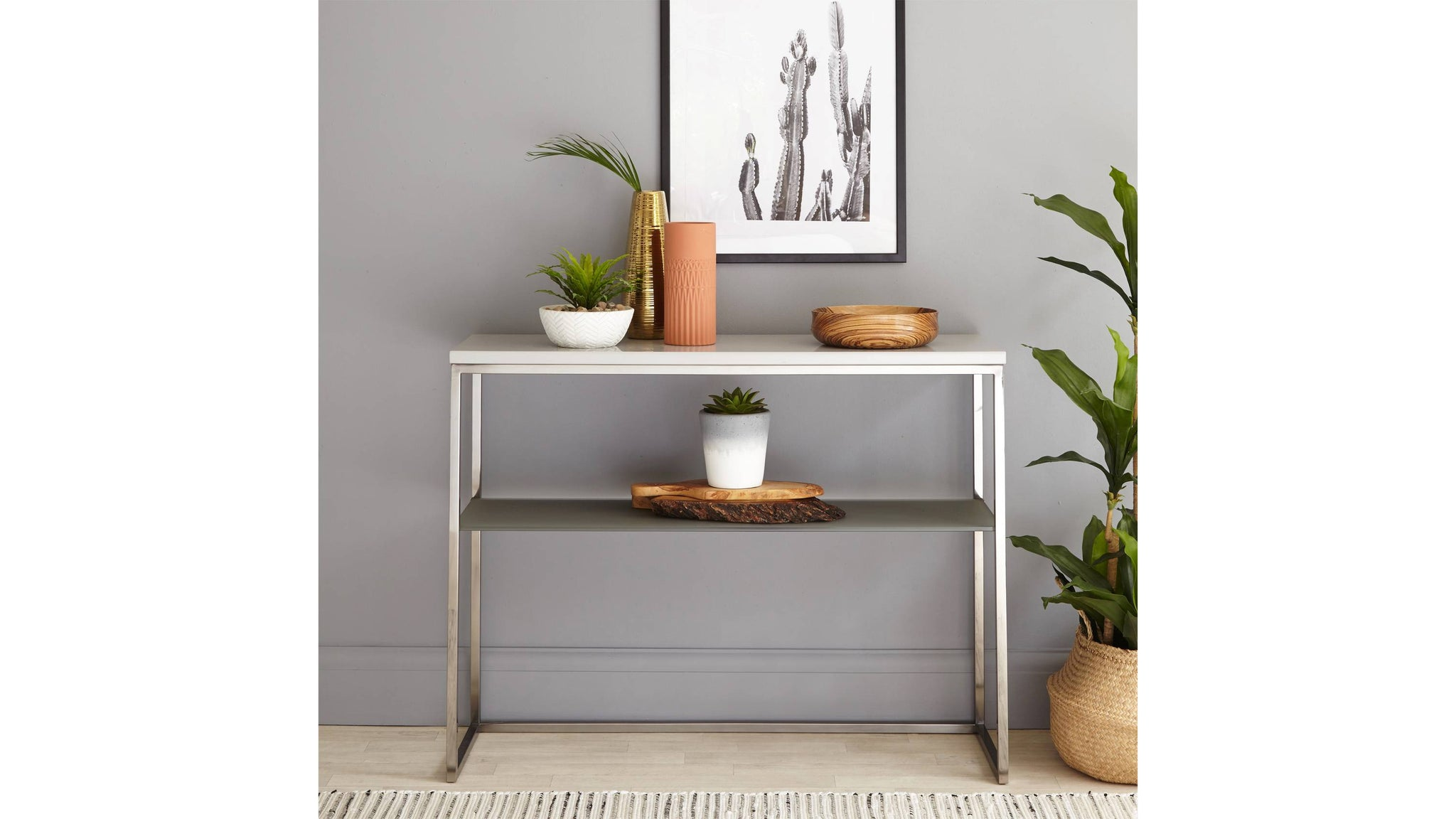 Acute Grey Gloss and Black Chrome Console Table
