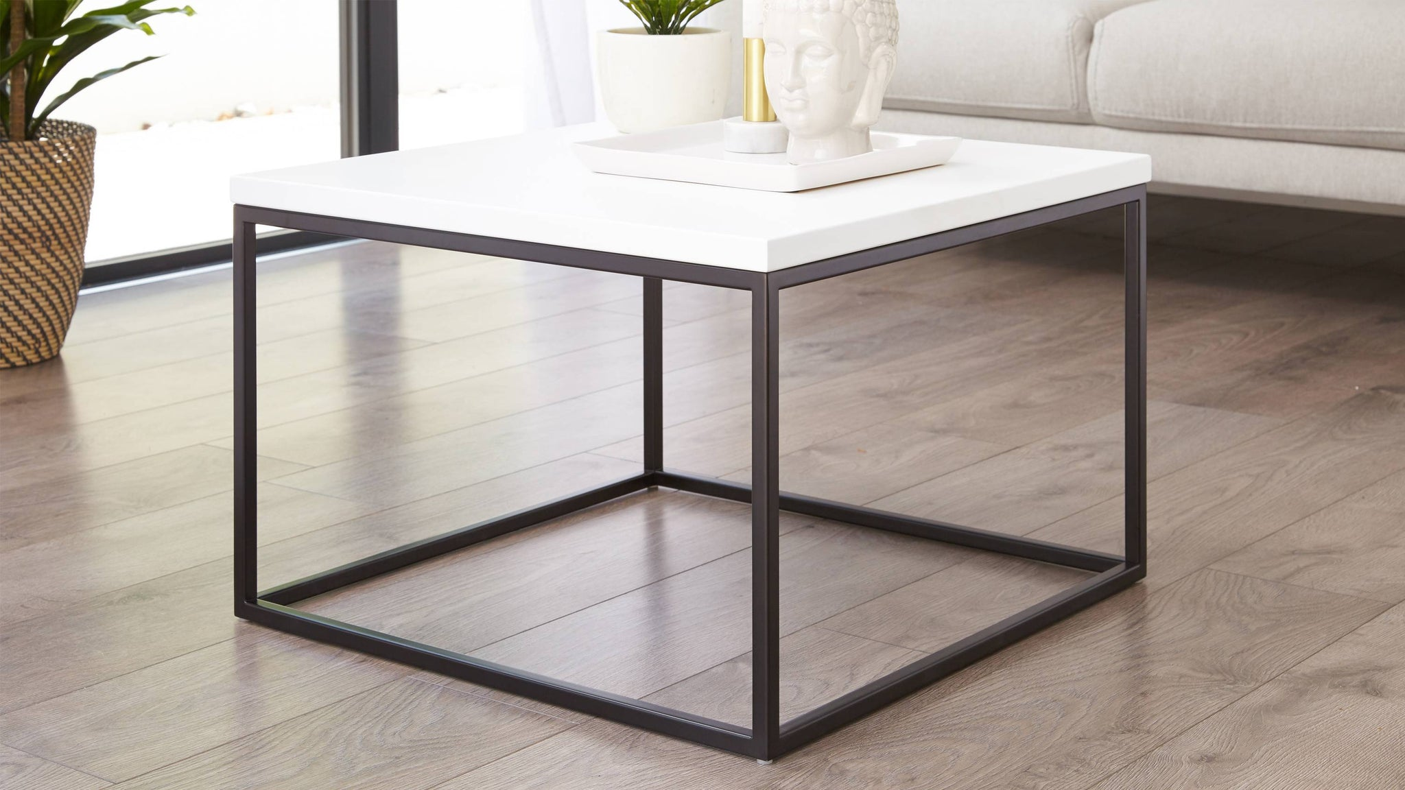 Matt white and black square coffee table