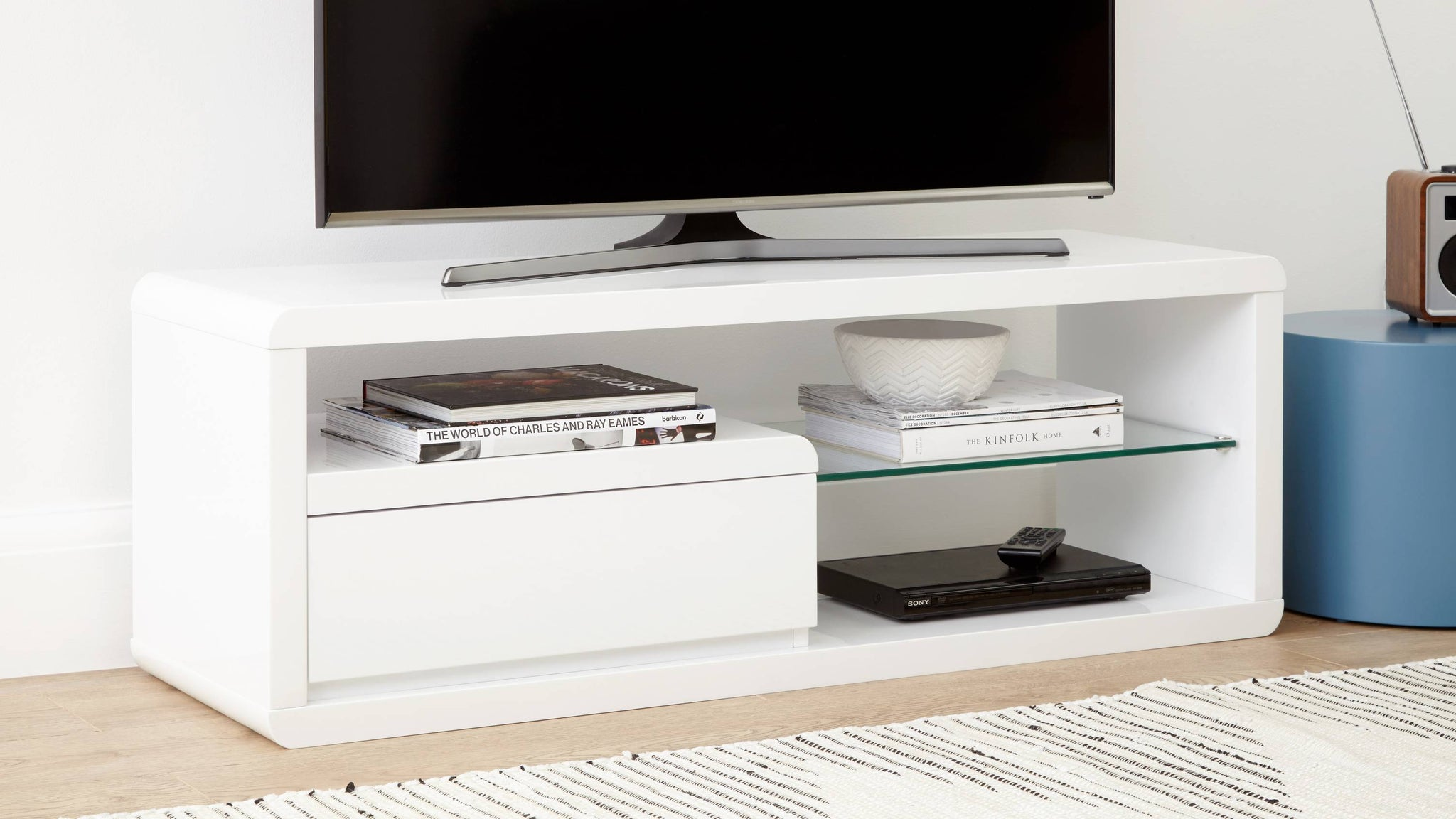 compact white gloss TV unit