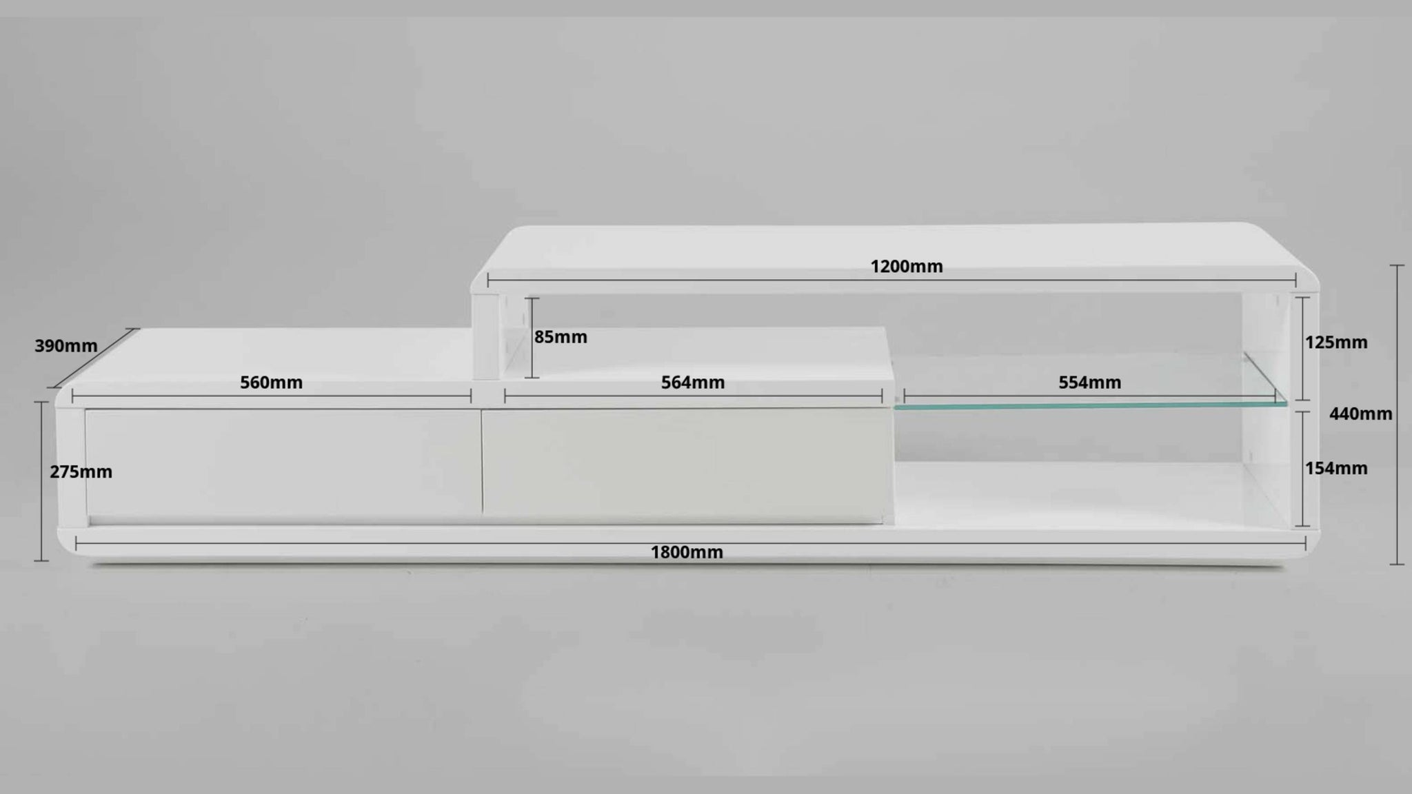 white gloss TV unit dimensions