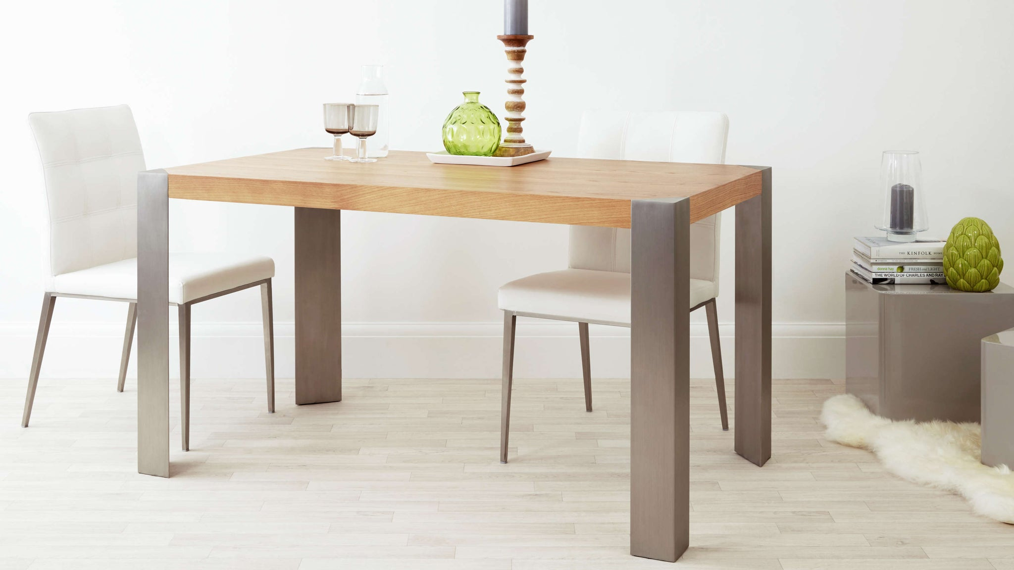 Stylish Oak Dining Table with Brushed Metal Legs