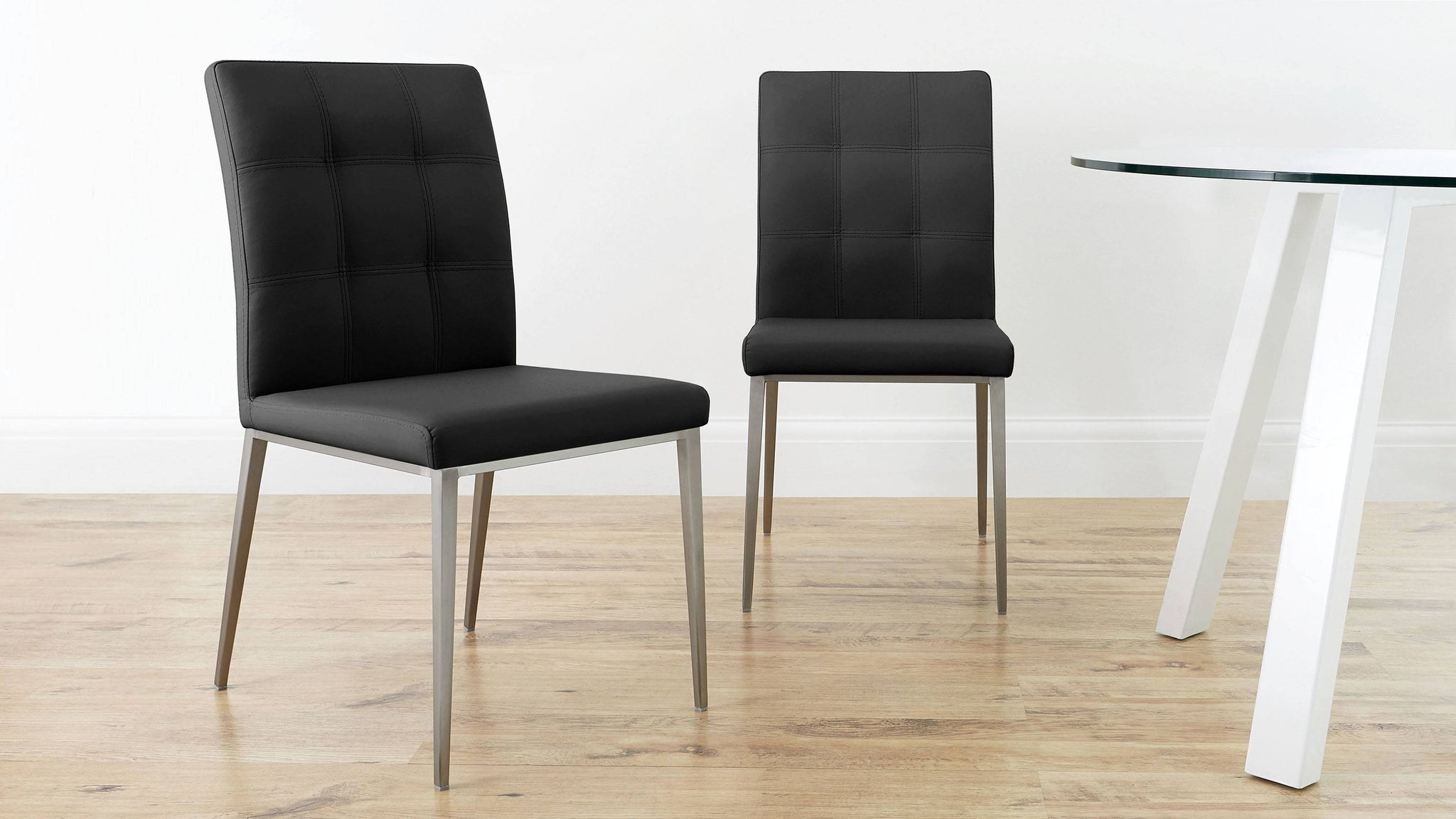 Modern Quilted Black Leather Dining Chairs