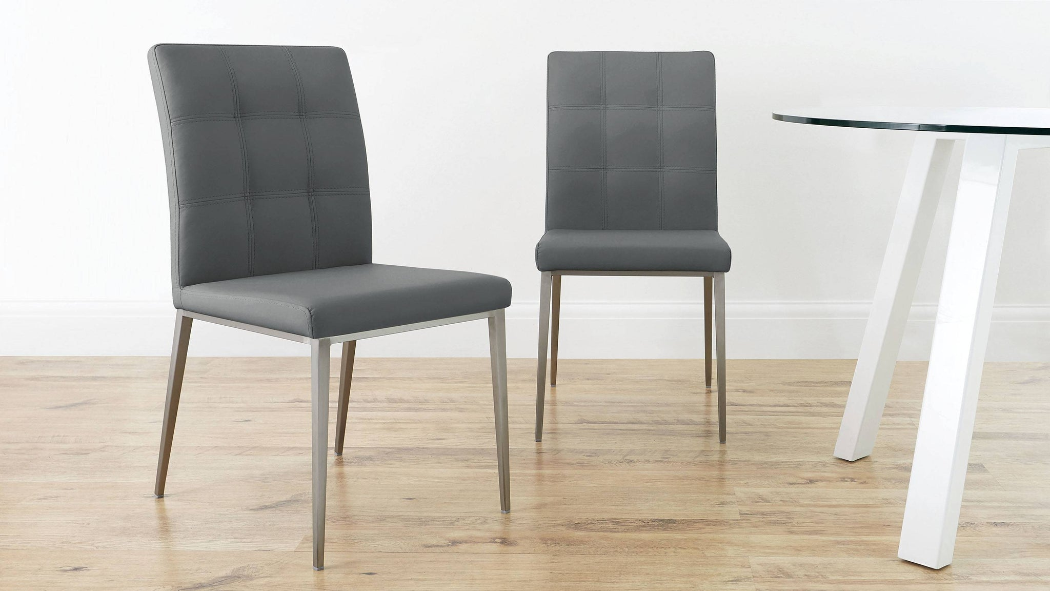 Modern Quilted Grey Leather Dining Chairs