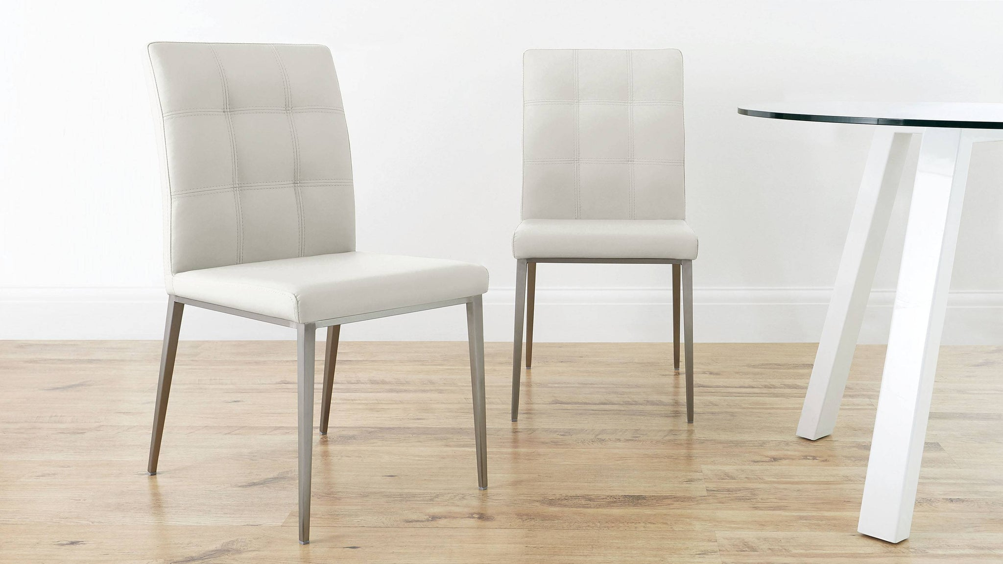 Modern Quilted White Leather Dining Chairs