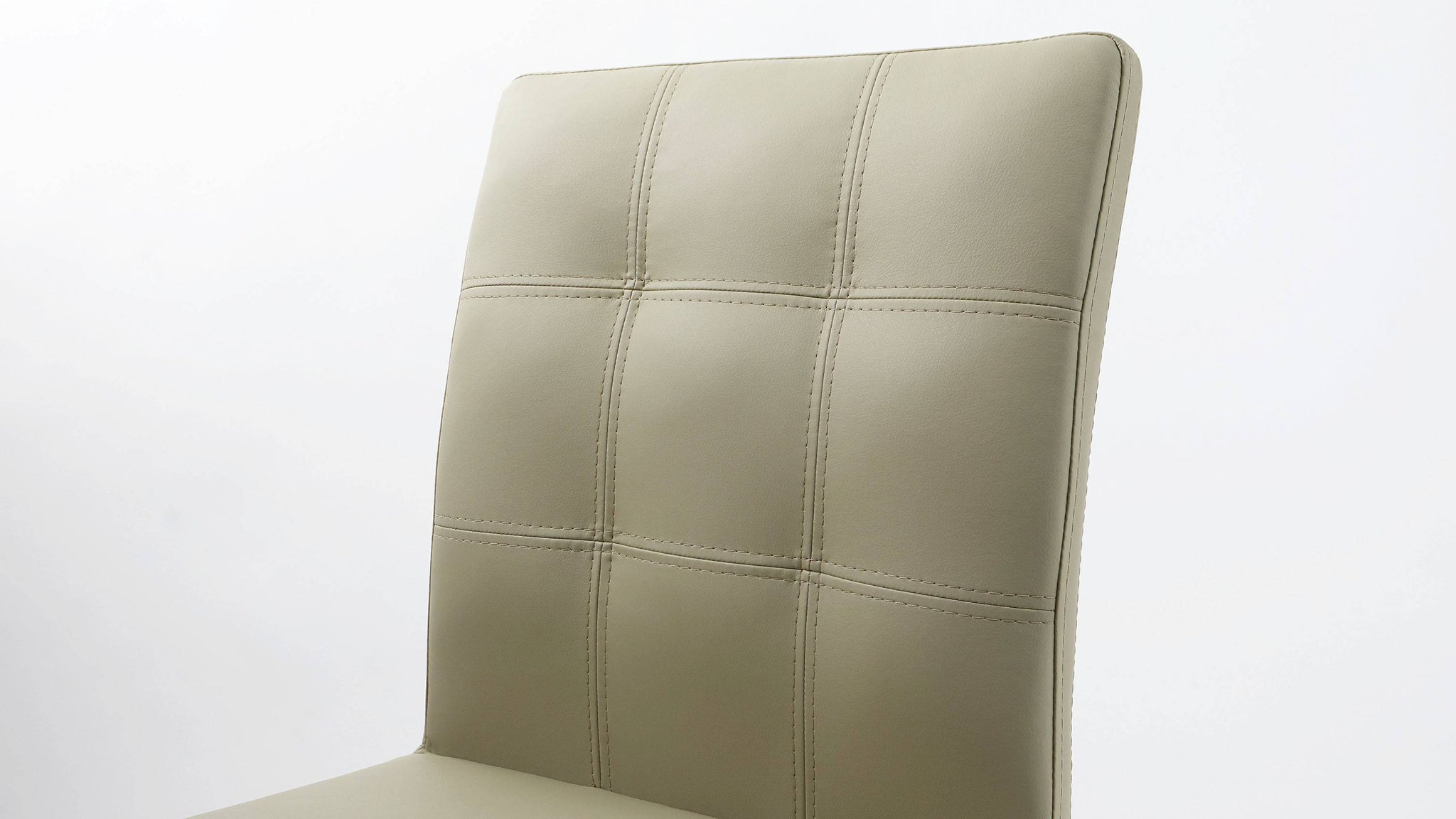 Quilted Dining Chairs in Light Grey