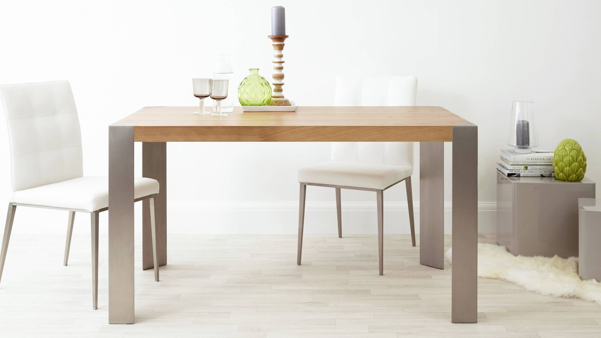 Wooden and Brushed Metal Dining Table