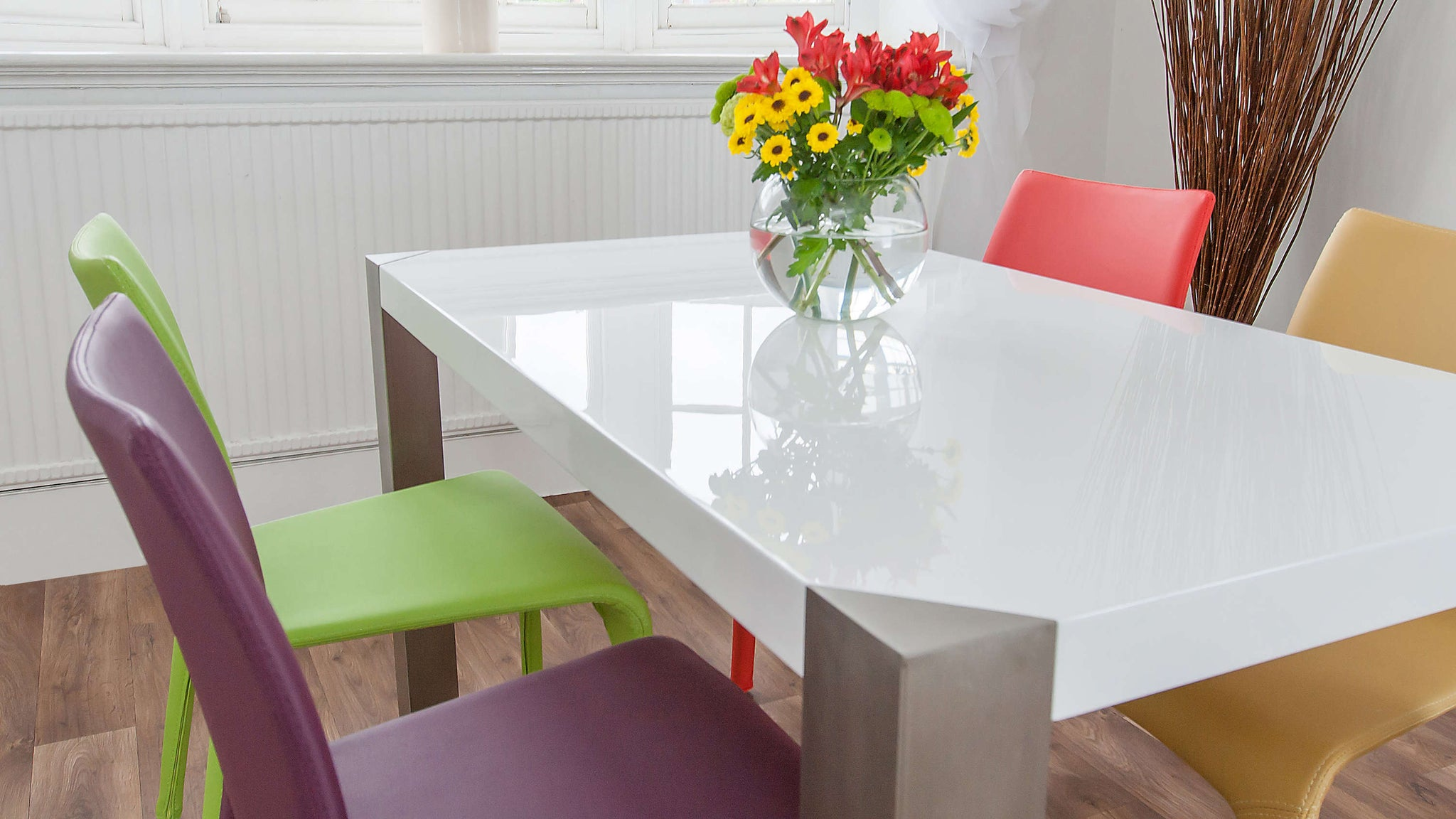 Large White Gloss Dining Table and Modern Dining Chairs