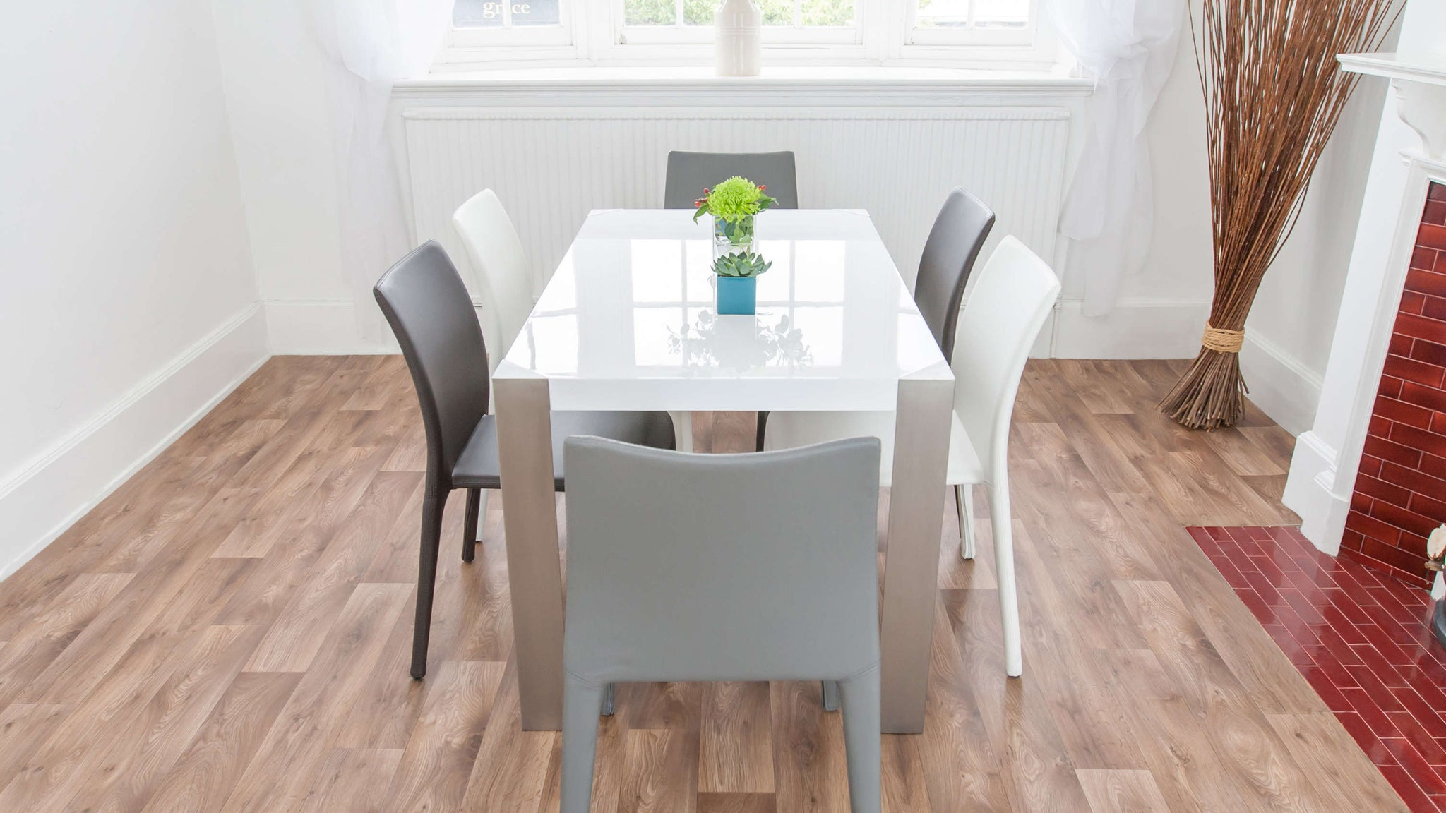 Comfortable Dining Chairs and White Gloss Dining Table