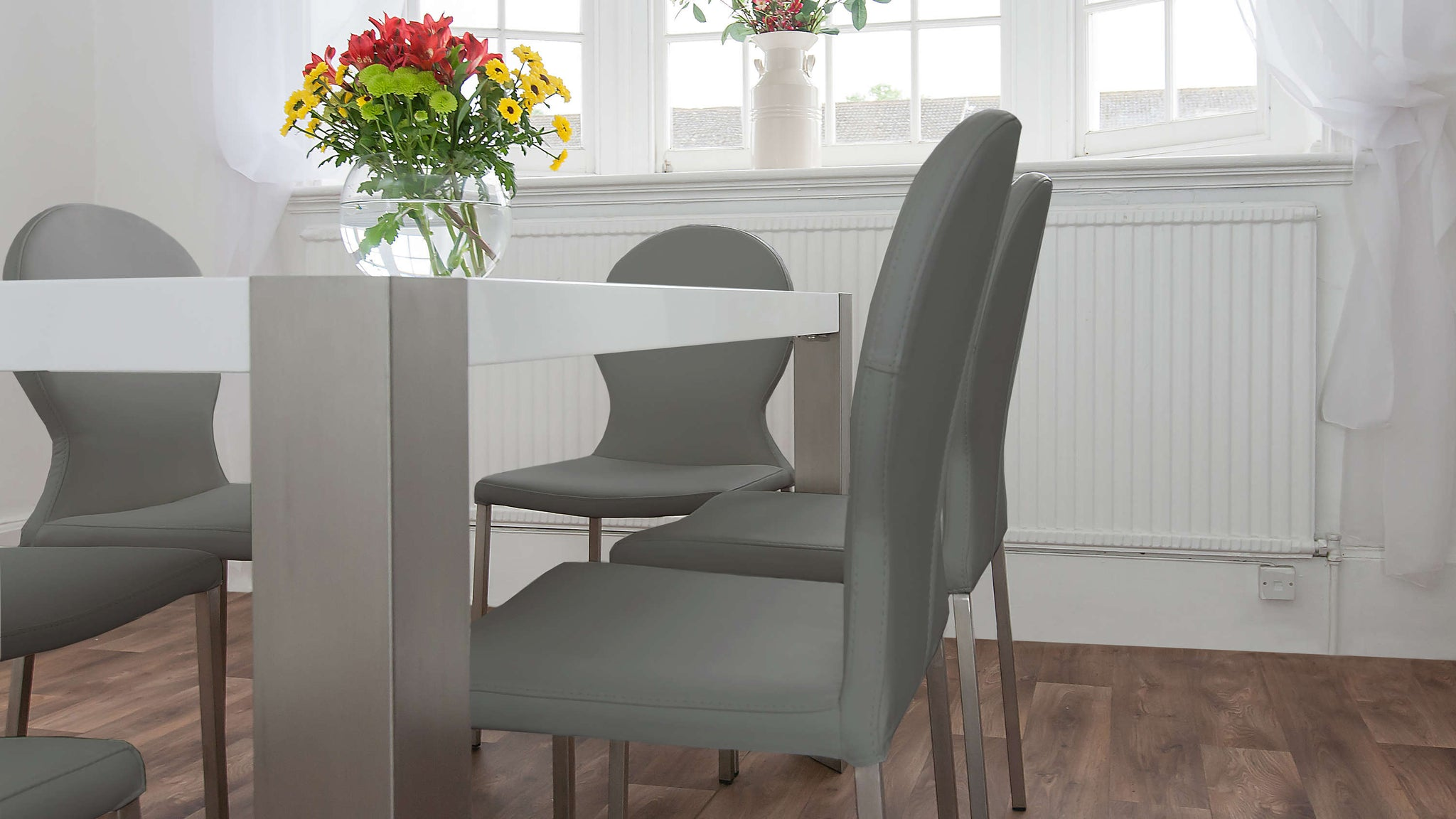 Modern Dining Table with Leather Dining Chairs