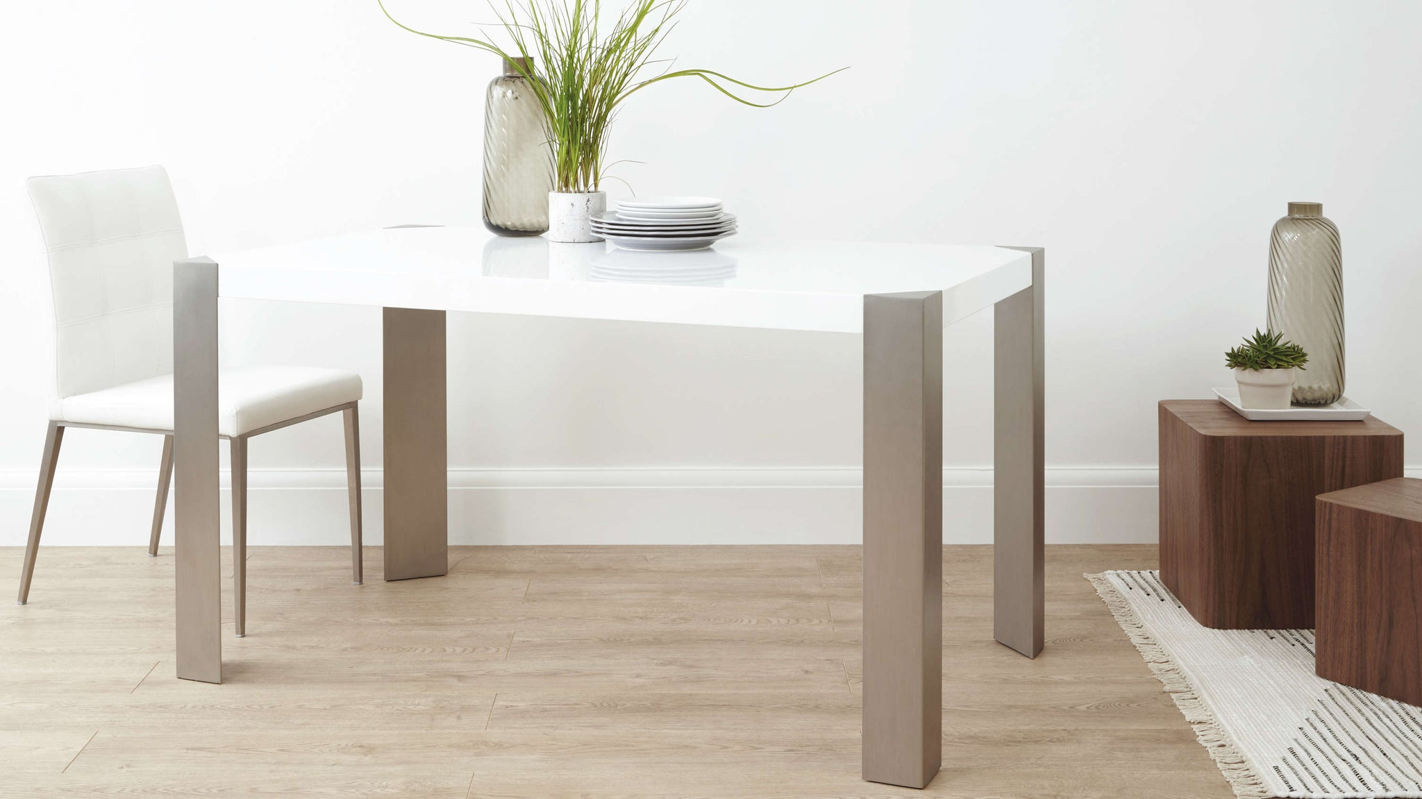 Small Rectangular White Dining Table