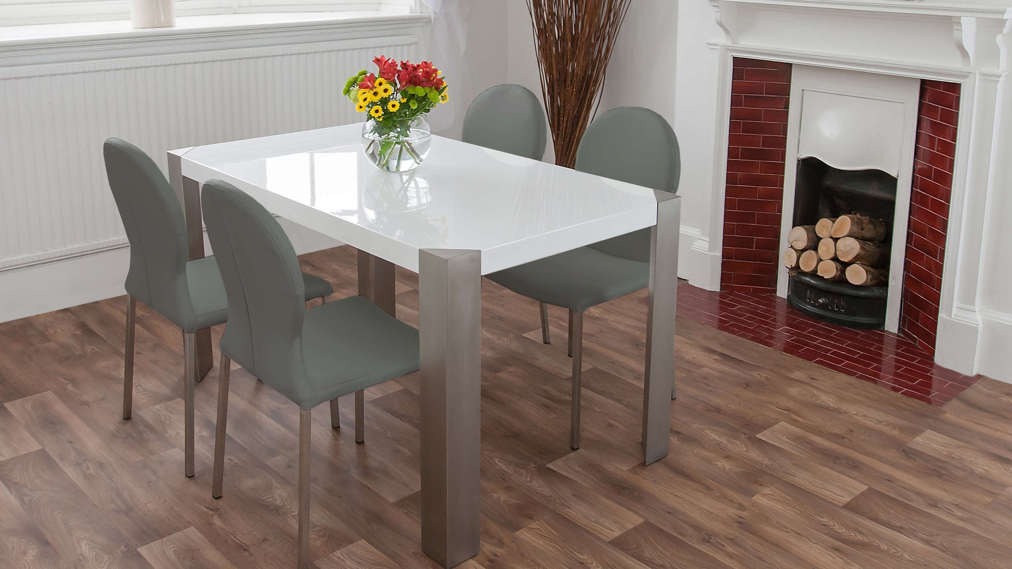 Large White Dining Table and Grey Dining Chairs