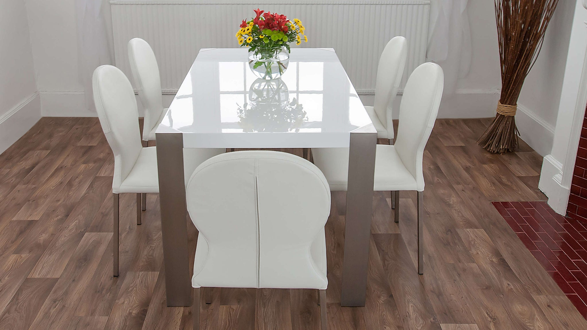 Round Backed Dining Chairs with White Gloss Dining Table