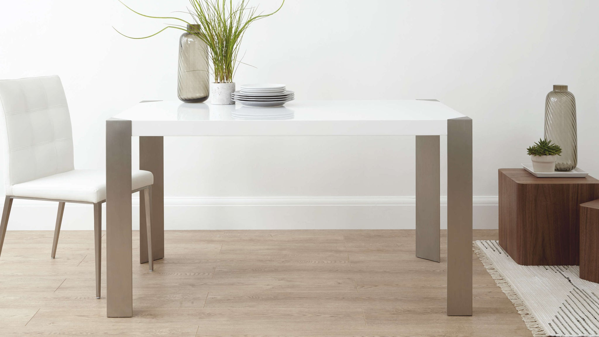 Modern White Gloss and Brushed Metal Dining Table