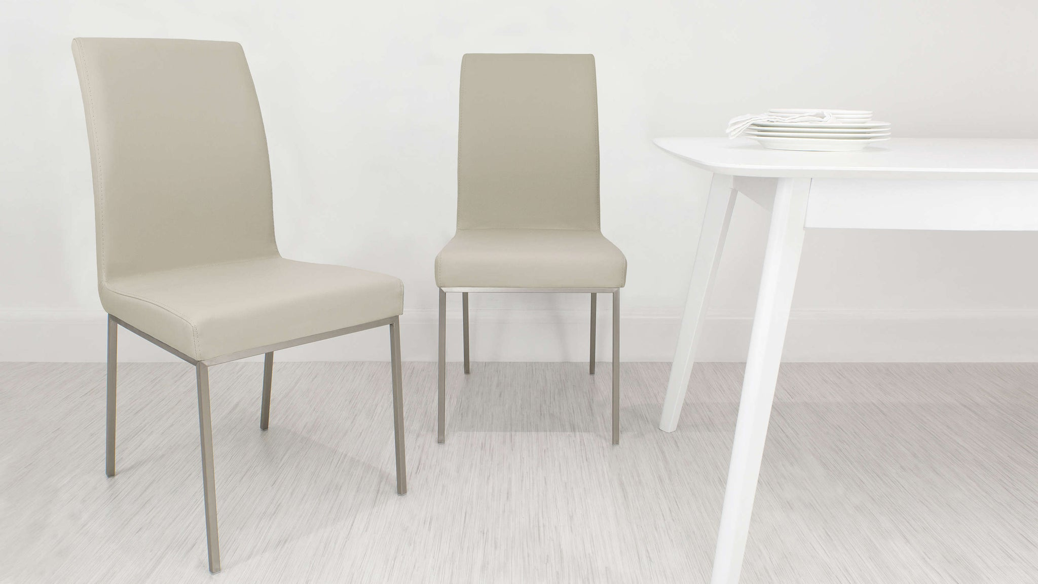 Brushed Metal Legged Dining Chair in Beige