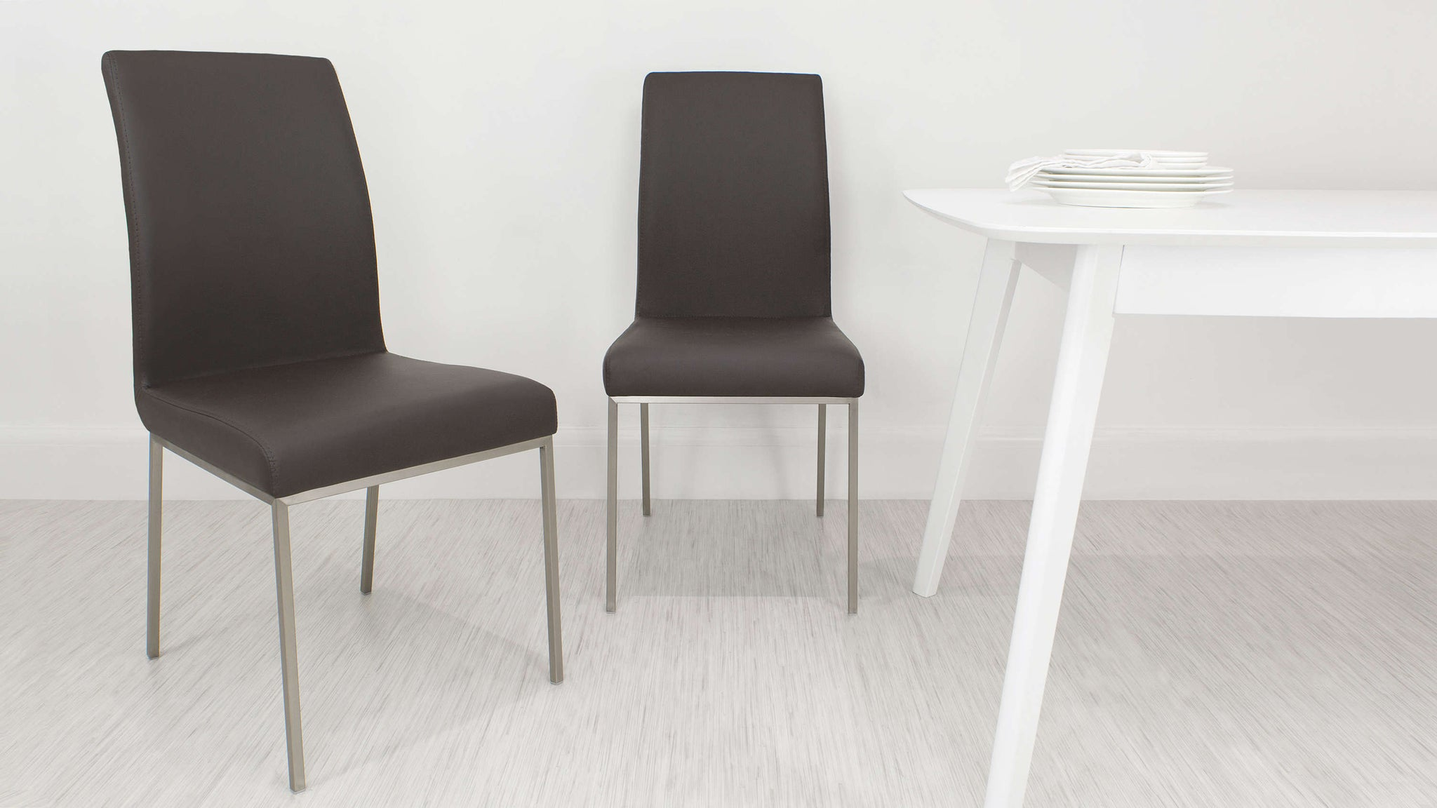 Brushed Metal Legged Dining Chair in Brown