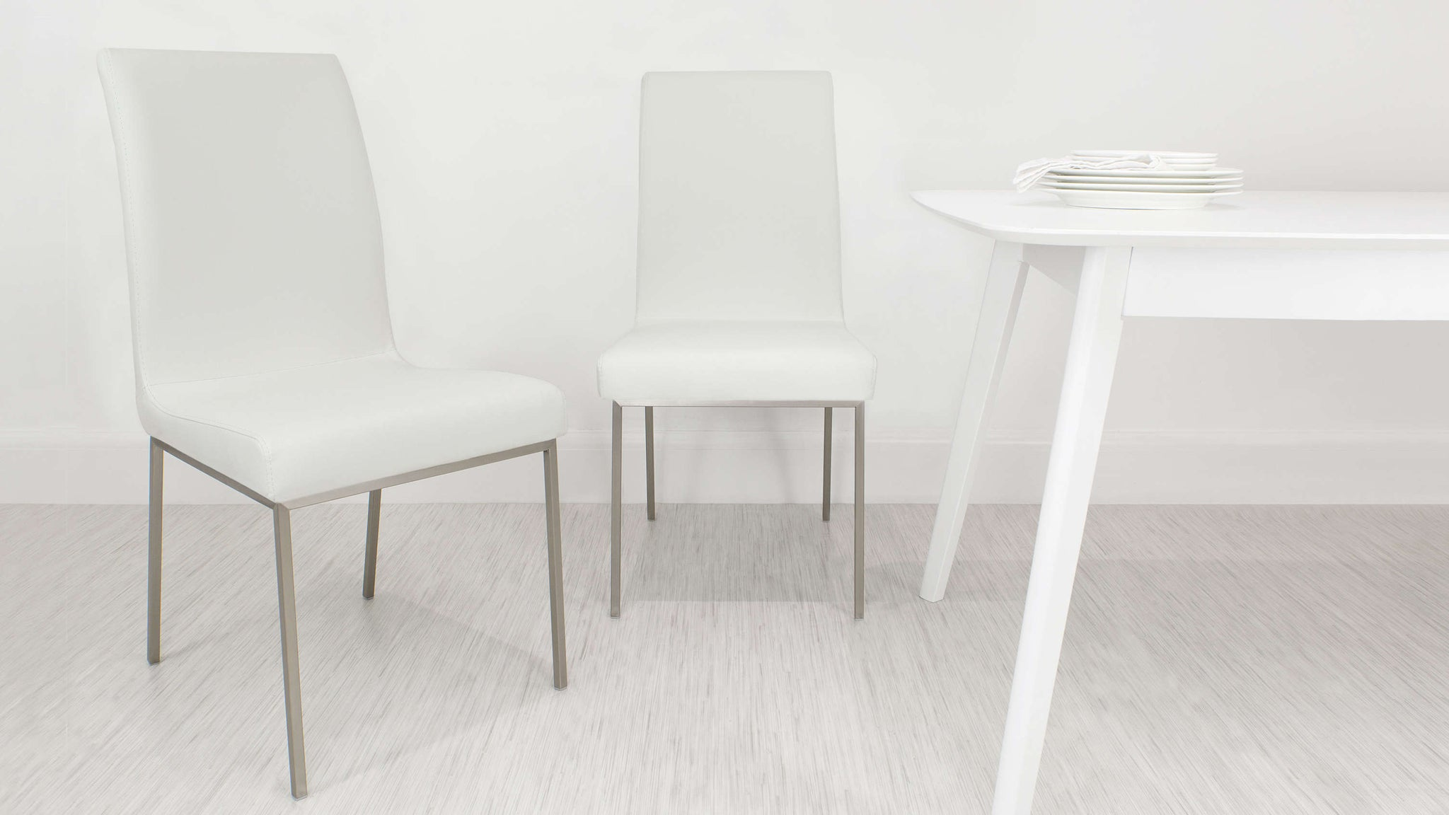 Brushed Metal Legged Dining Chair in White