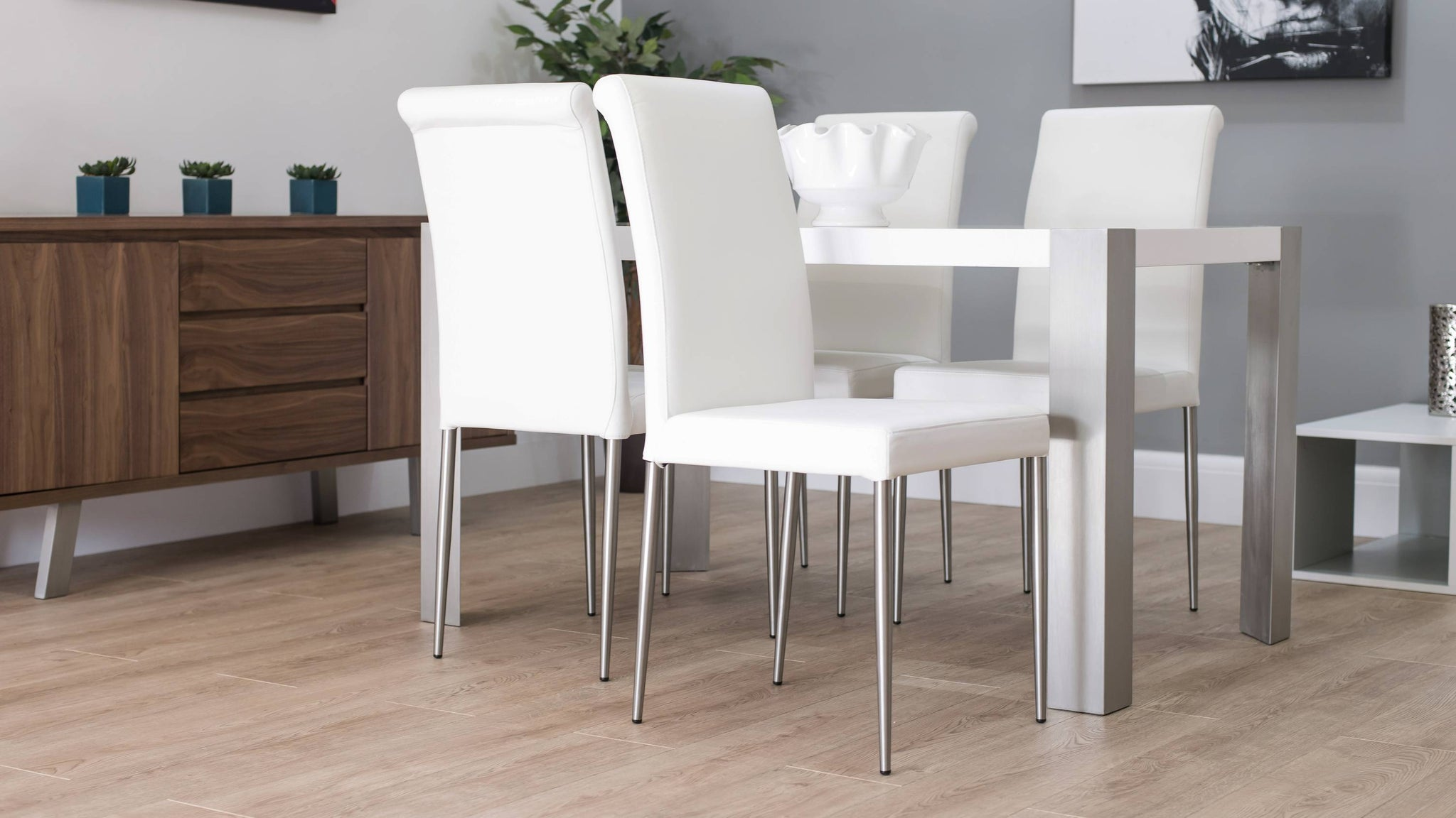 White Leather Dining Chairs and Small White Gloss Dining Table