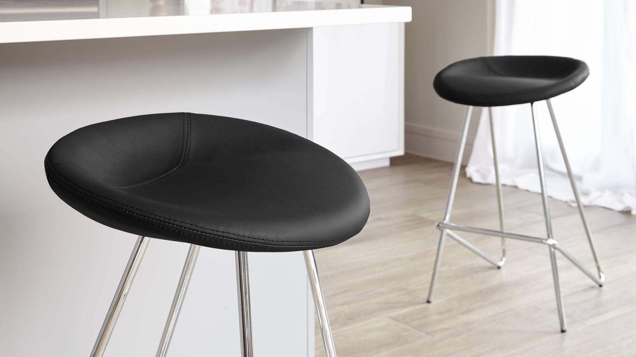 Black Fixed Height Barstools with a Chrome Base