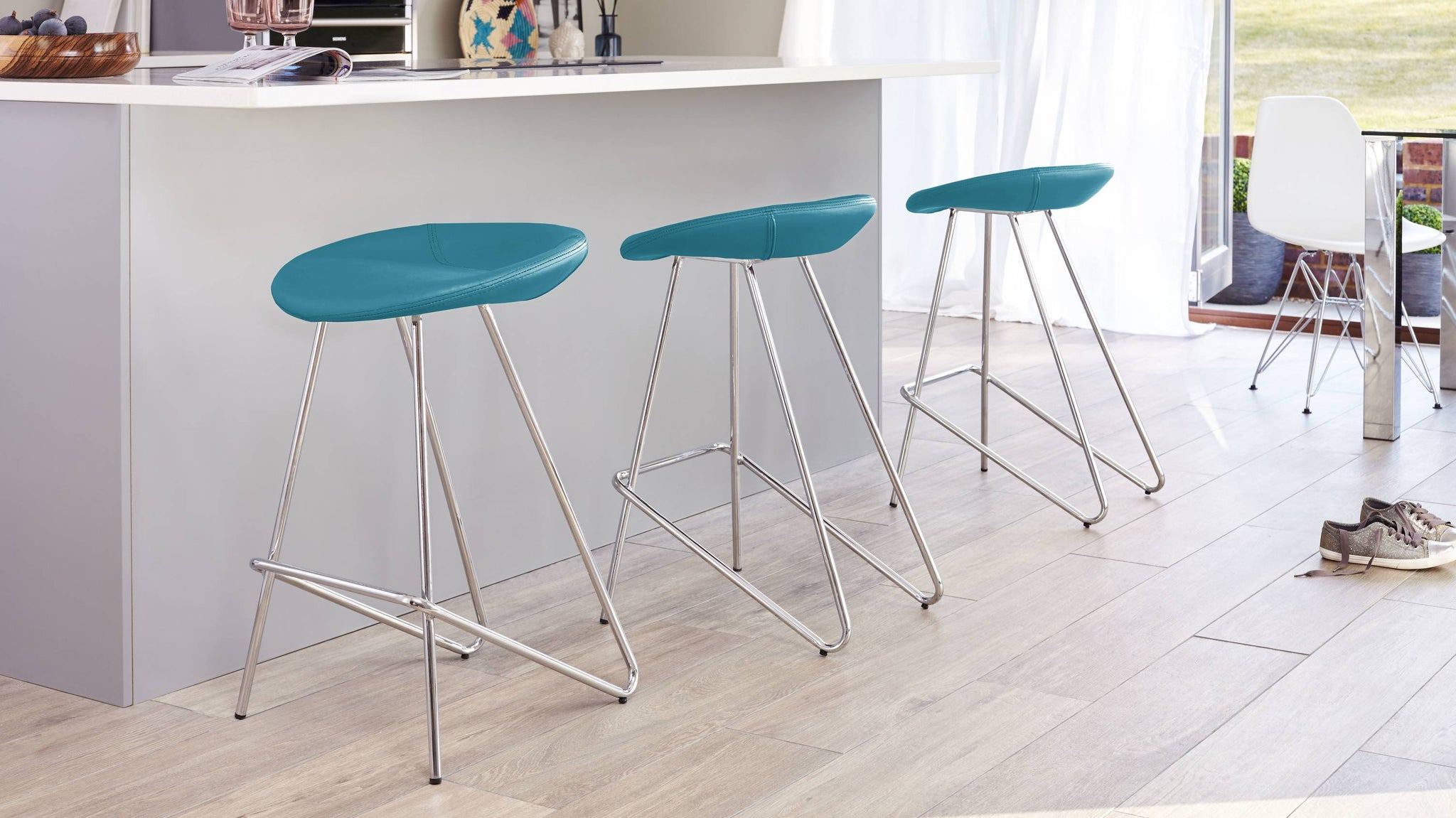 Anzio teal bar stool faux leather